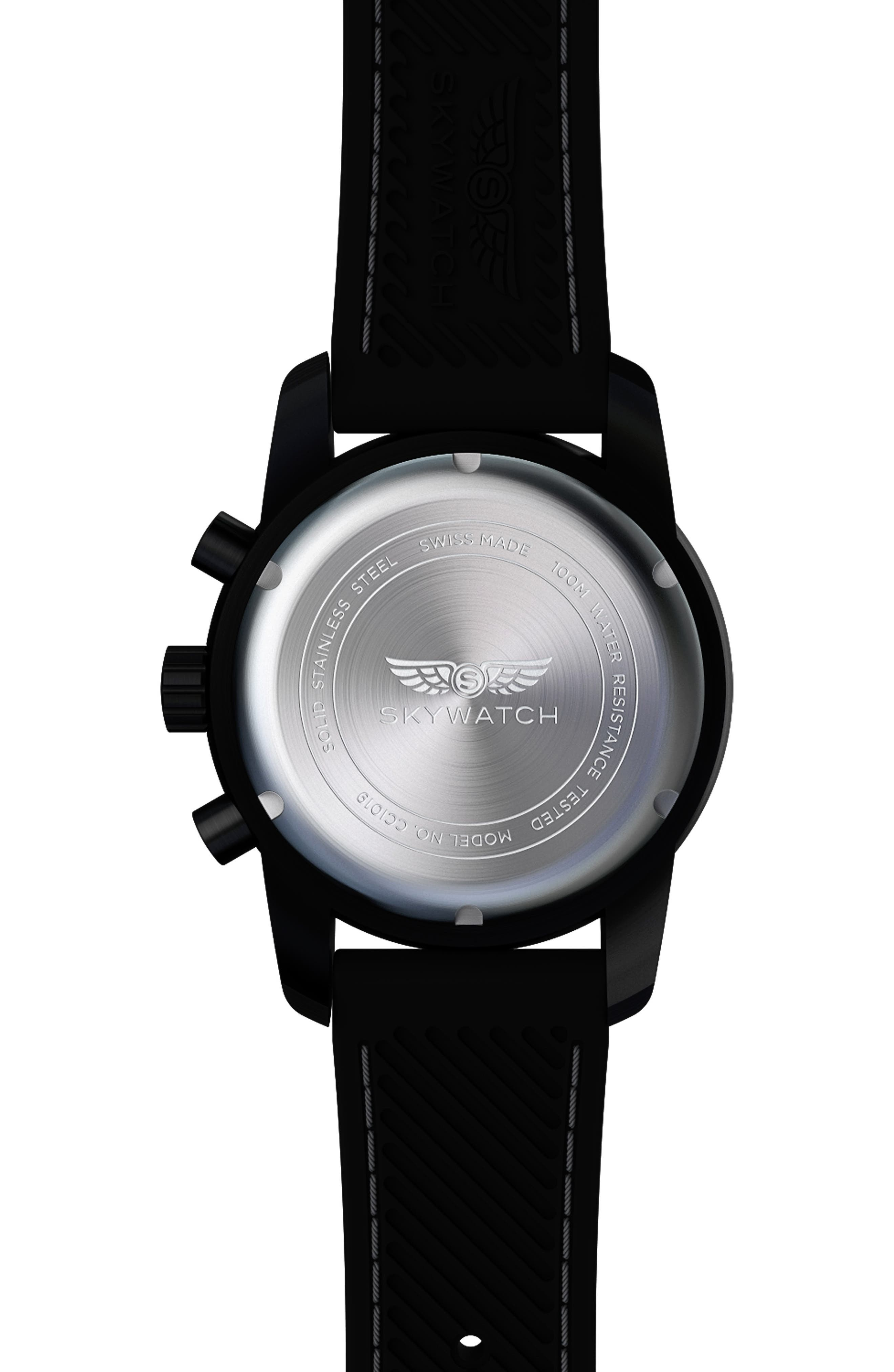 Classic Chronograph Silicone Strap Watch, 44mm,                             Alternate thumbnail 2, color,                             001