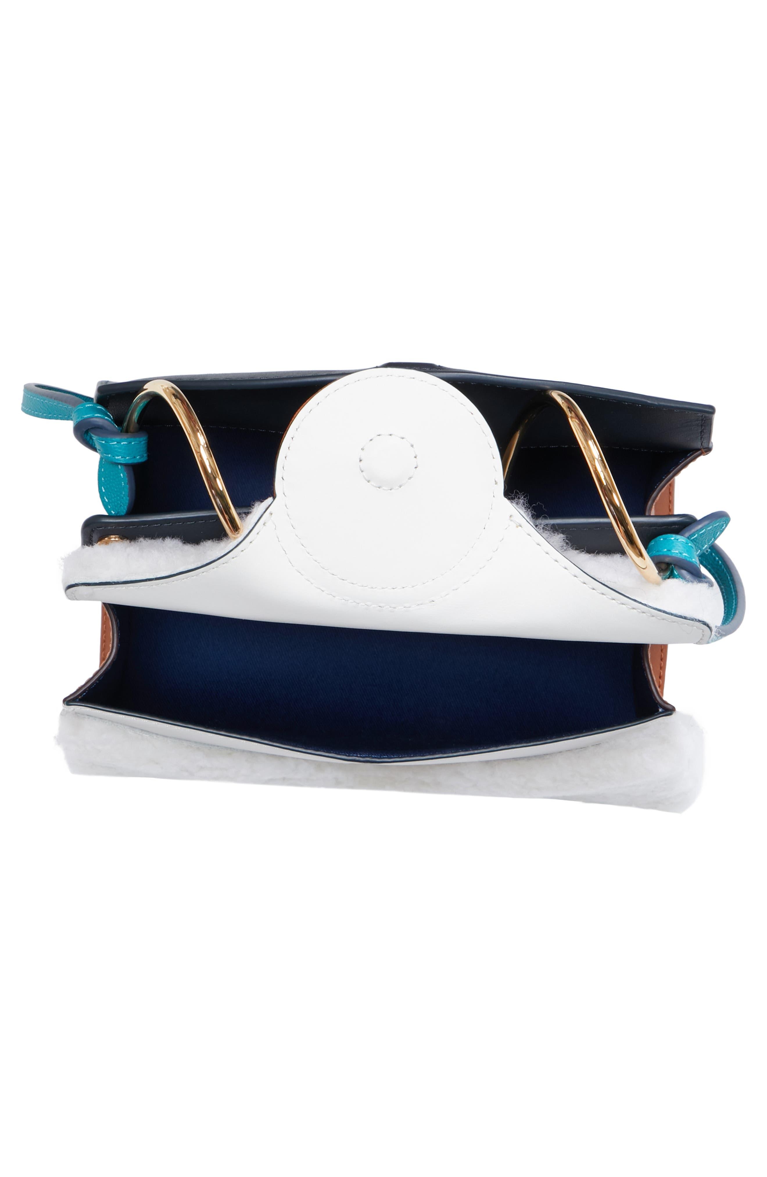 Mini Phoebe Leather Bag,                             Alternate thumbnail 4, color,                             CURLY SHEARLING WHITE-MARINE