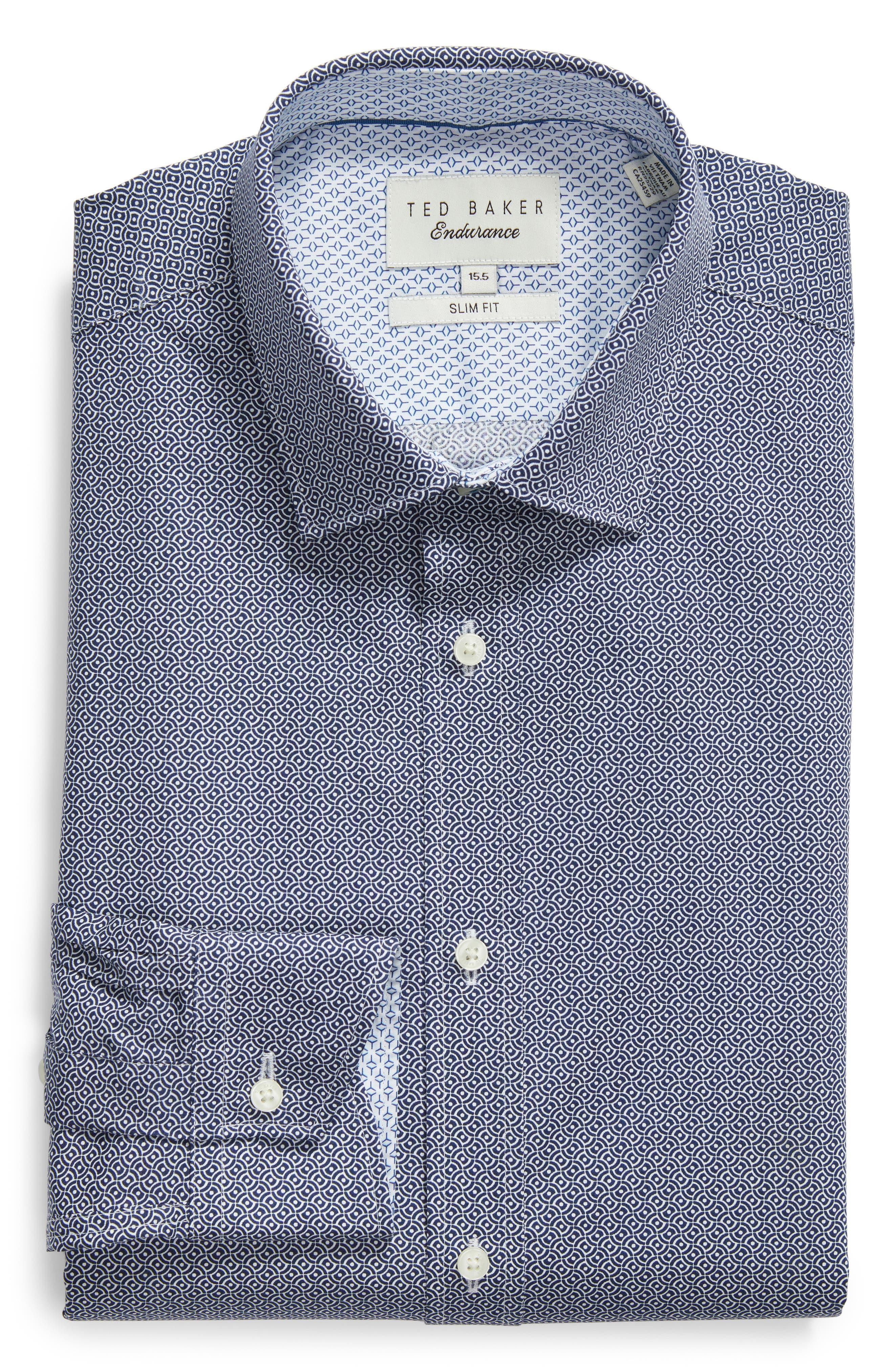 Footz Slim Fit Geometric Dress Shirt,                             Alternate thumbnail 5, color,                             NAVY
