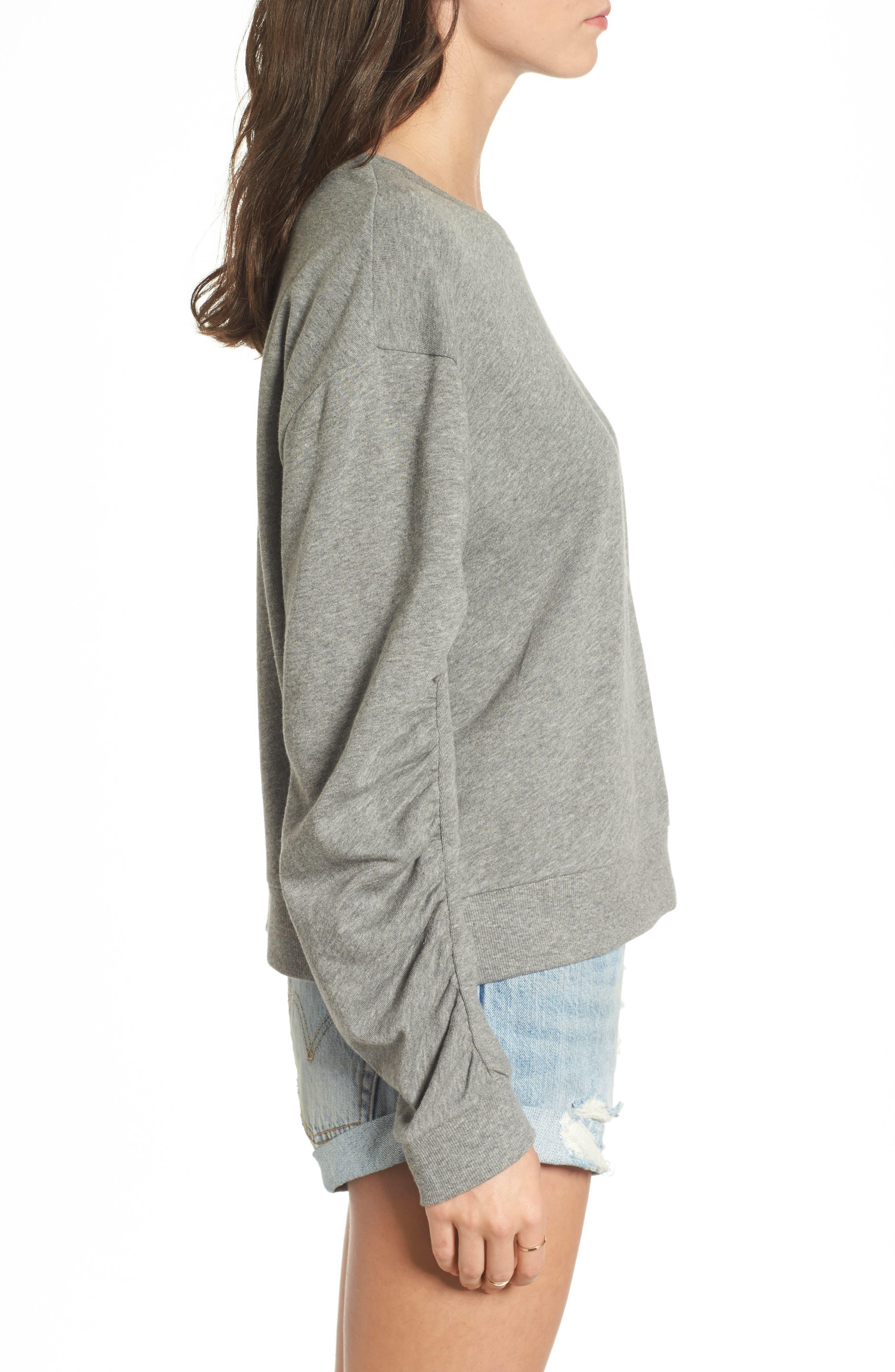 Ruched Sleeve Sweatshirt,                             Alternate thumbnail 3, color,                             030