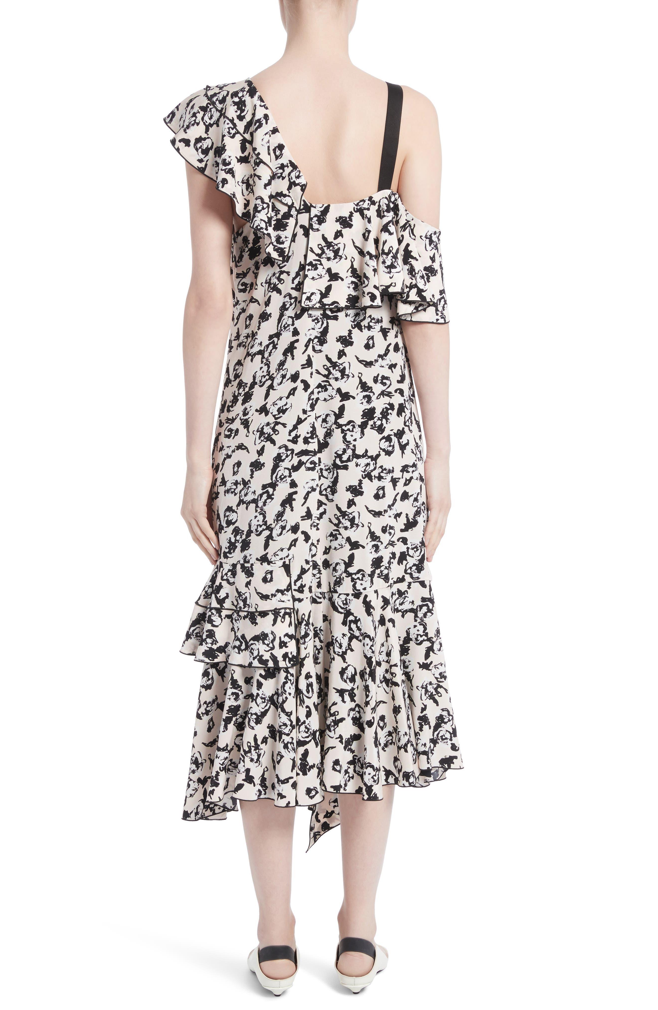 Ruffle Print Silk Midi Dress,                             Alternate thumbnail 2, color,                             001
