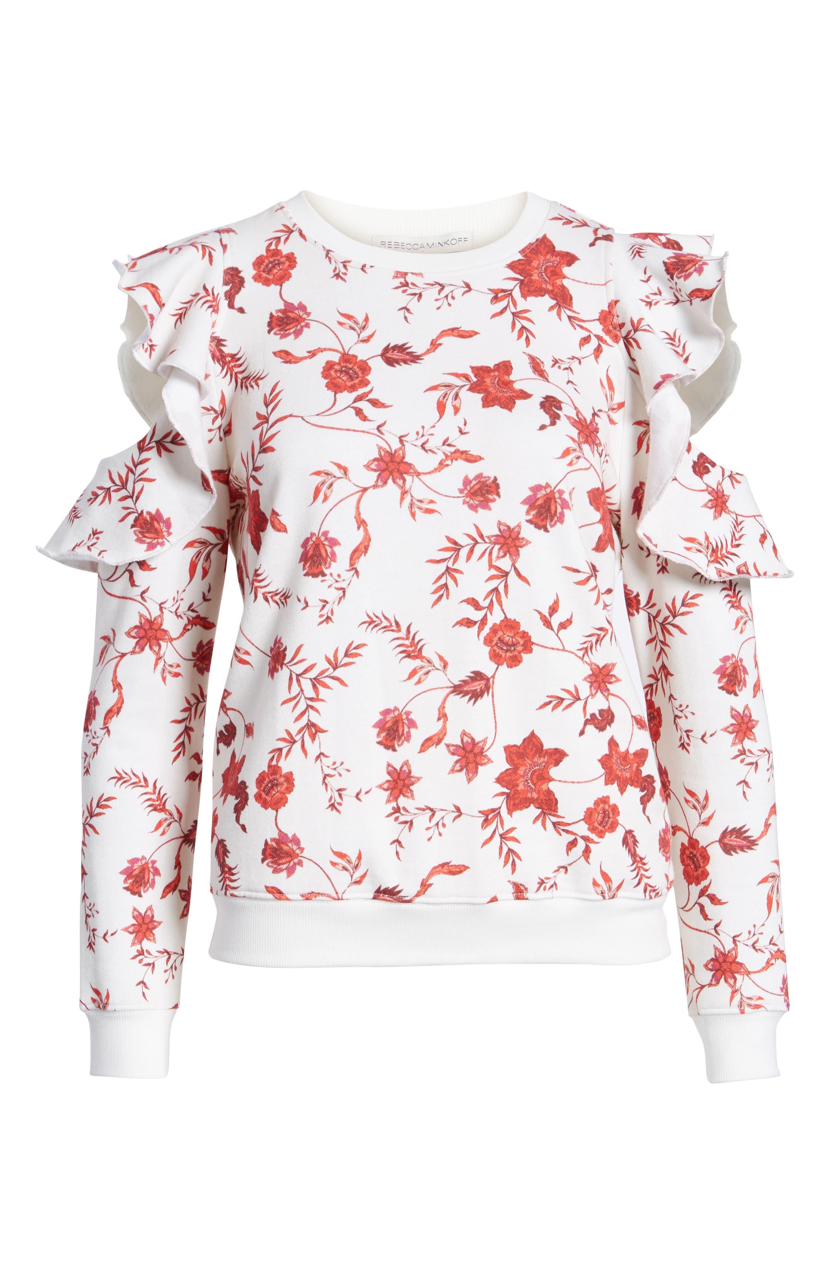 REBECCA MINKOFF,                             Gracie Cold Shoulder Floral Sweatshirt,                             Alternate thumbnail 7, color,                             900