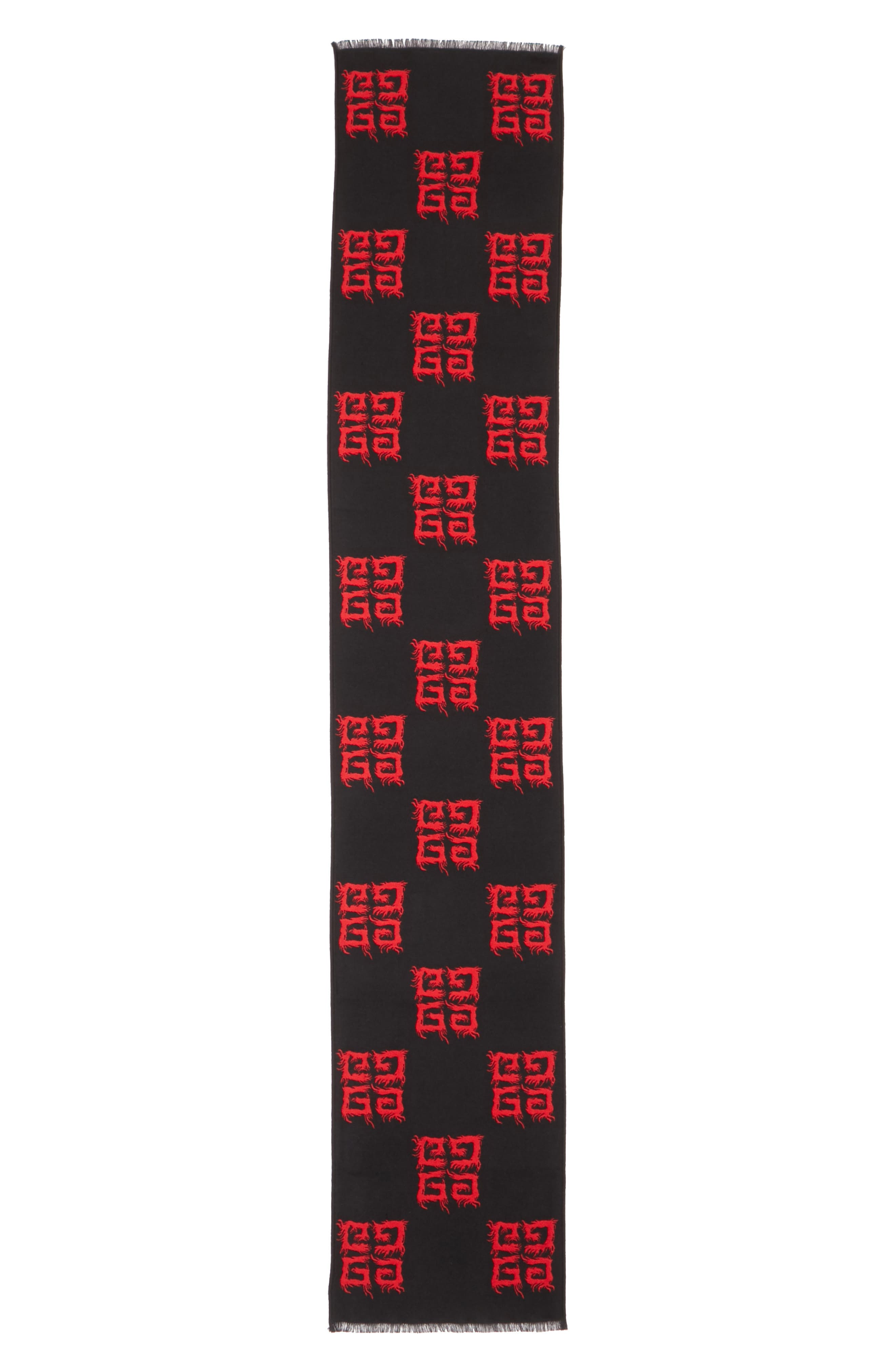 Flame Wool & Silk Scarf,                             Main thumbnail 1, color,                             BLACK/ RED
