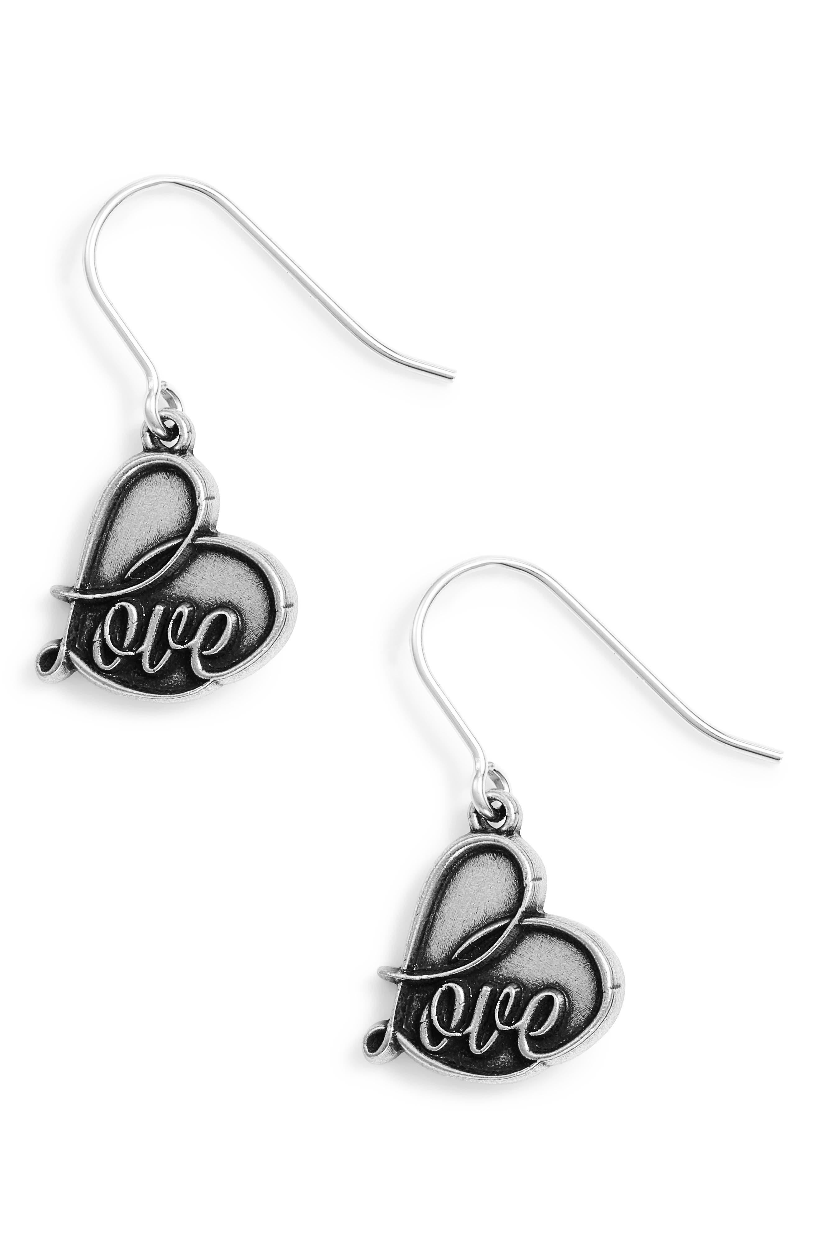 Love Drop Earrings,                         Main,                         color, SILVER
