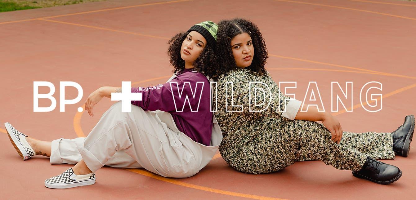 Model wearing a BP. + WILDFANG long-sleeve tee and overalls with model wearing a BP. + WILDFANG jumpsuit.