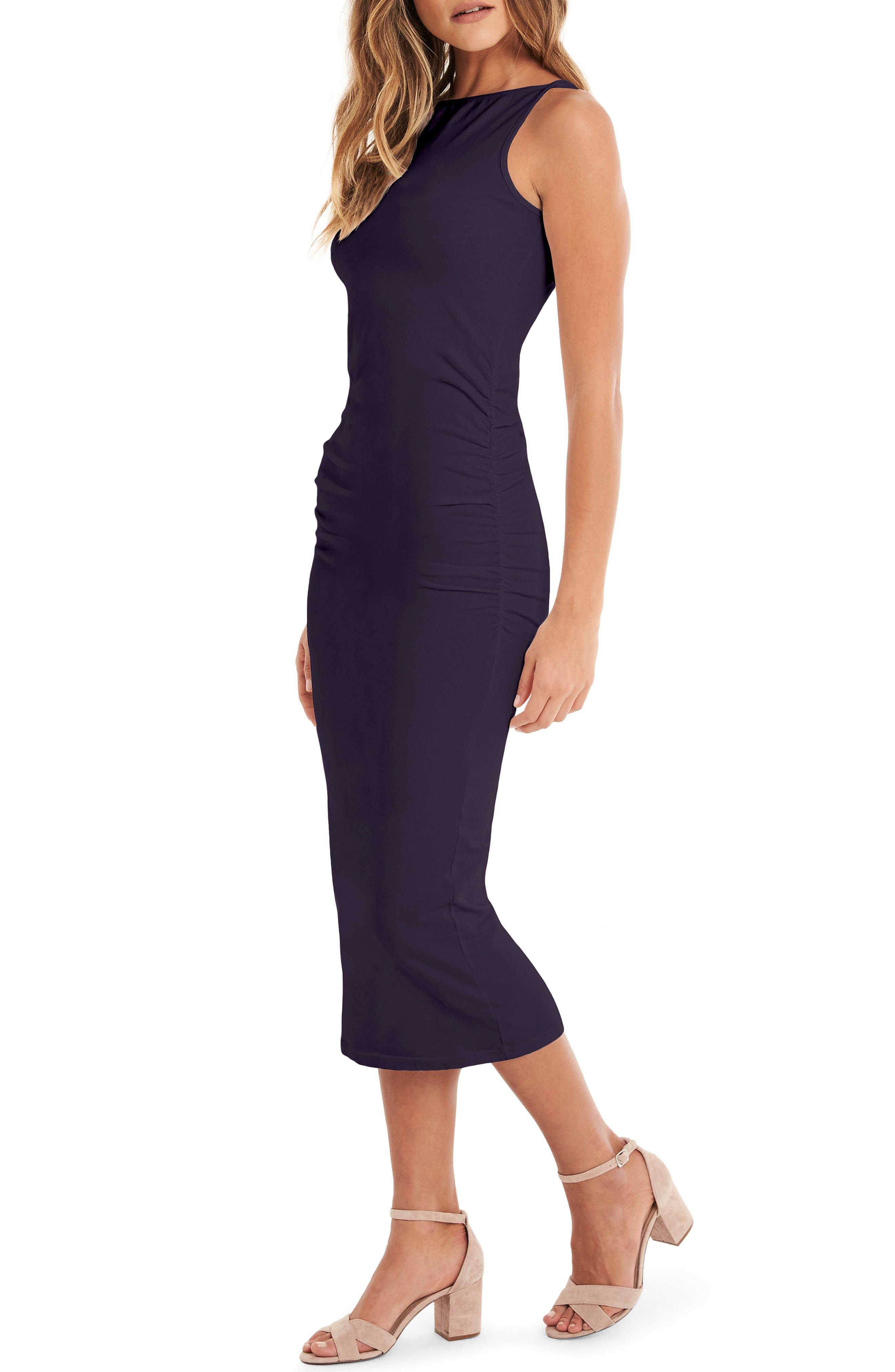 Reversible Stretch Cotton Midi Dress,                             Alternate thumbnail 4, color,                             GYPSY