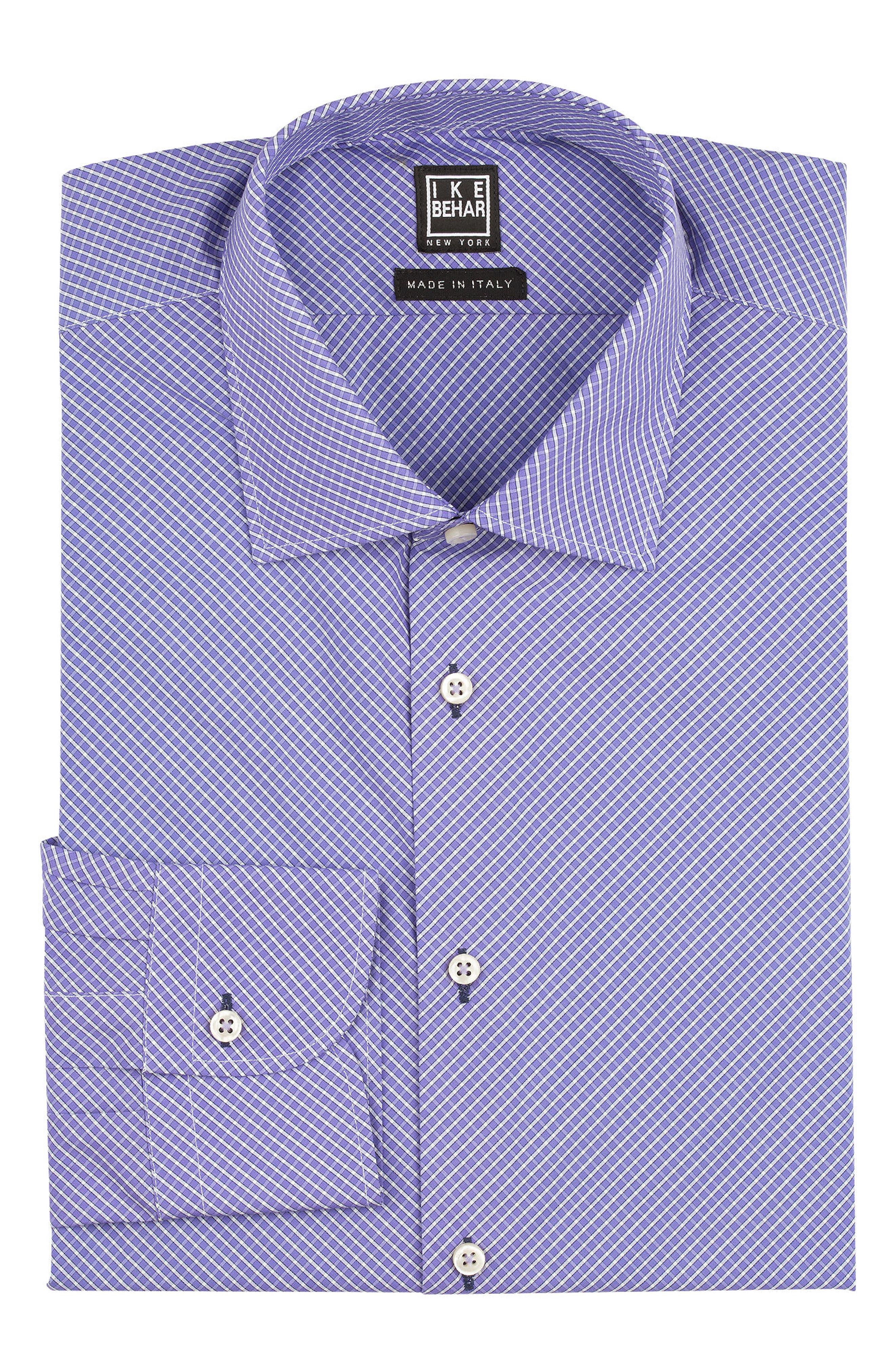 Regular Fit Check Dress Shirt,                             Alternate thumbnail 5, color,                             PURPLE