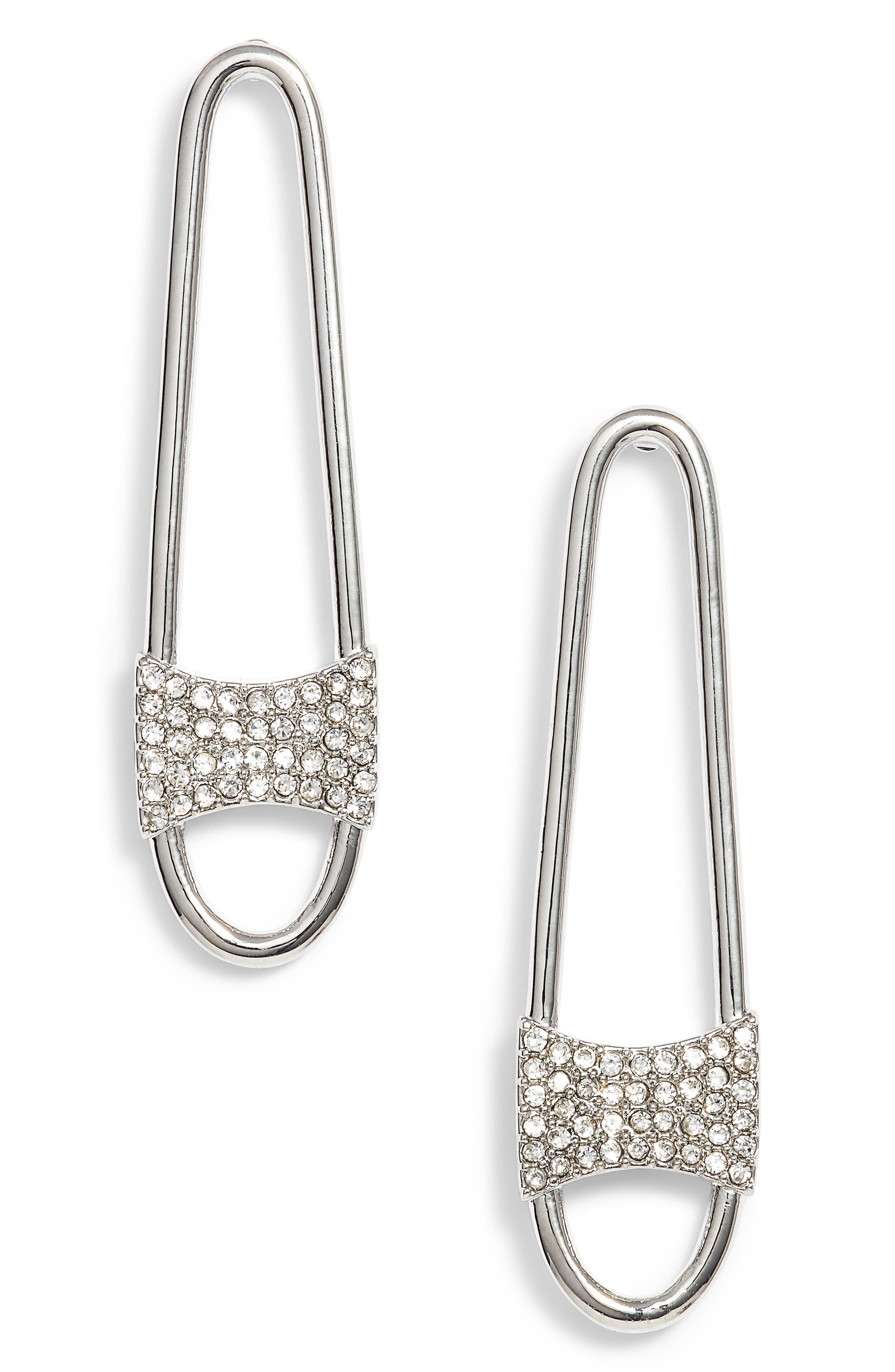 Pave Safety Pin Earrings,                         Main,                         color, 040