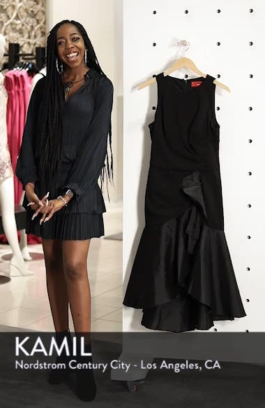 Crepe Contrast Ruffle Cocktail Dress, sales video thumbnail