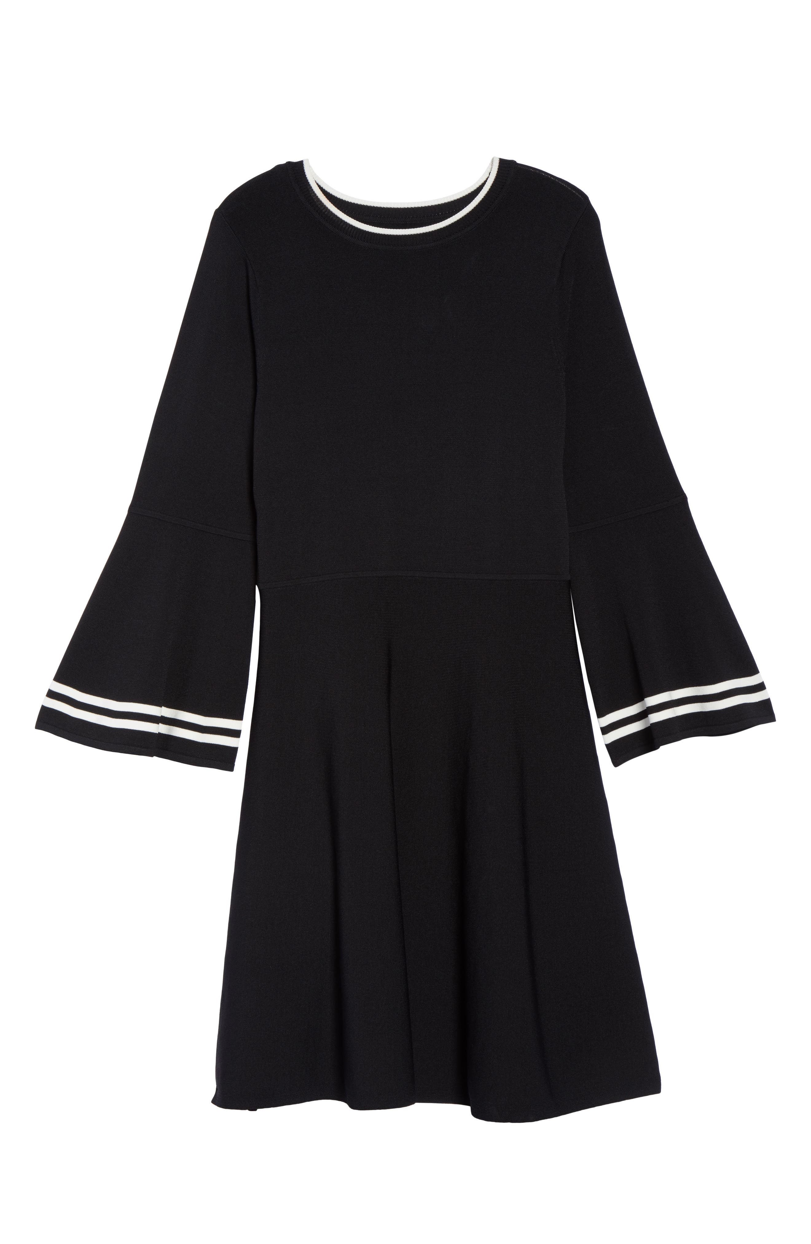 Bell Sleeve Fit & Flare Dress,                             Alternate thumbnail 6, color,                             006