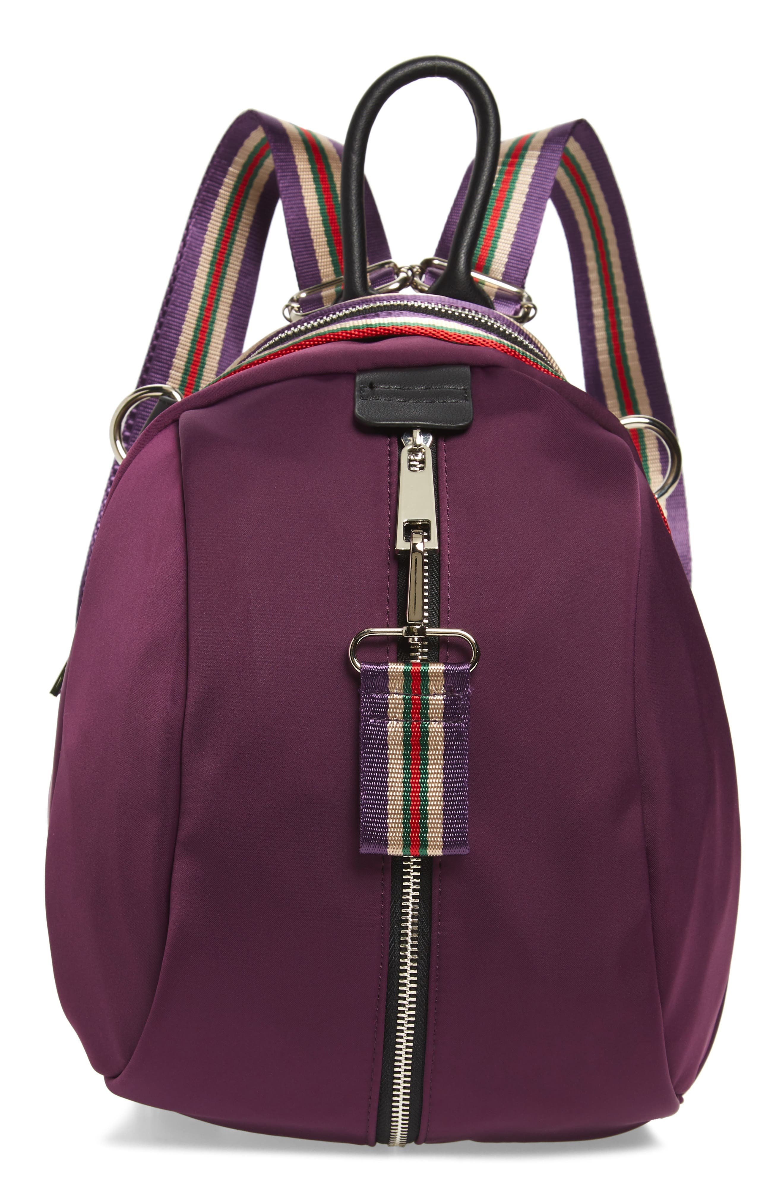 Sondra Roberts Satin Nylon & Webbing Convertible Backpack - Purple