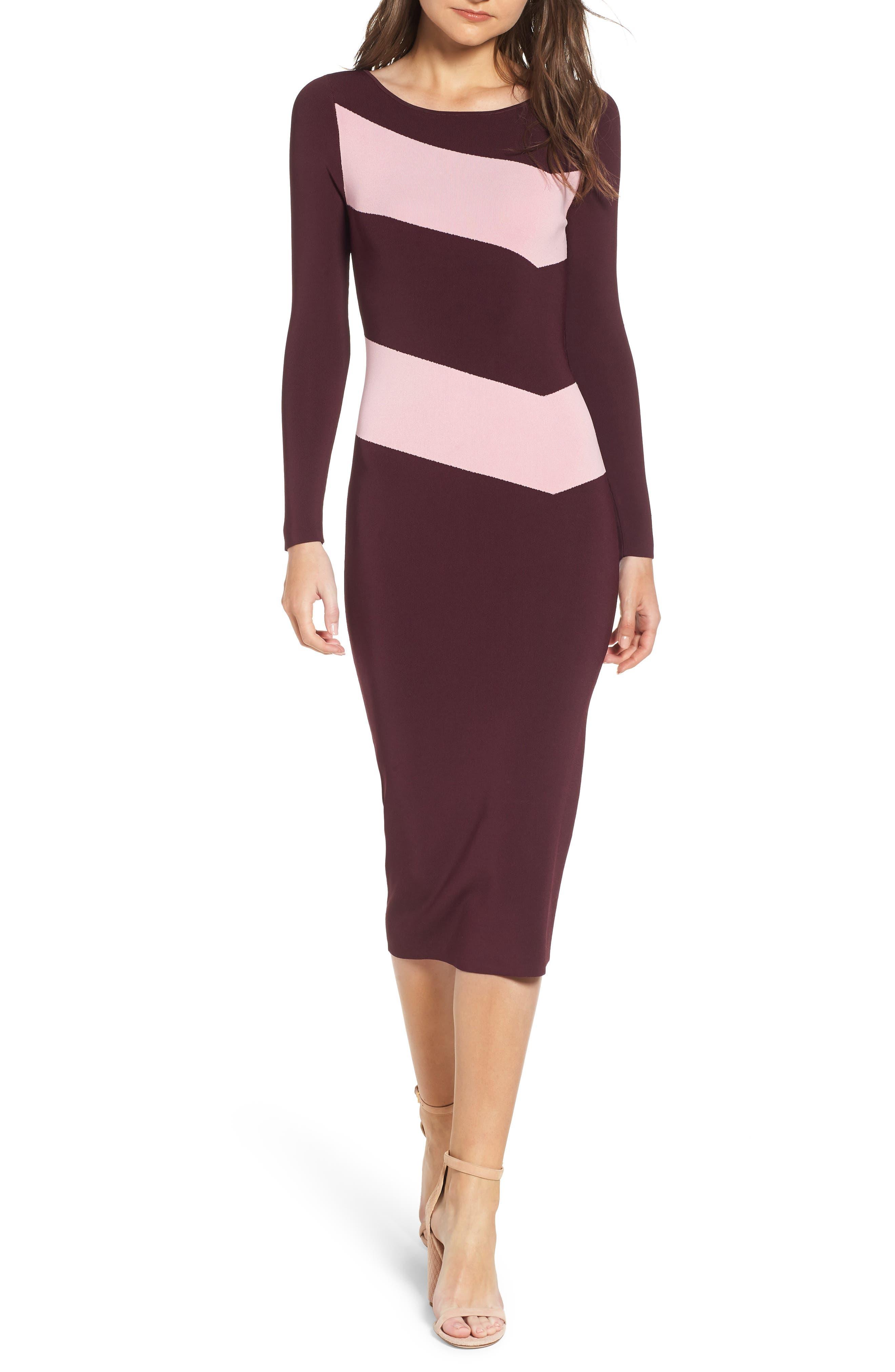 Bold Stripe Body-Con Dress,                         Main,                         color, BURGUNDY STEM COMBO