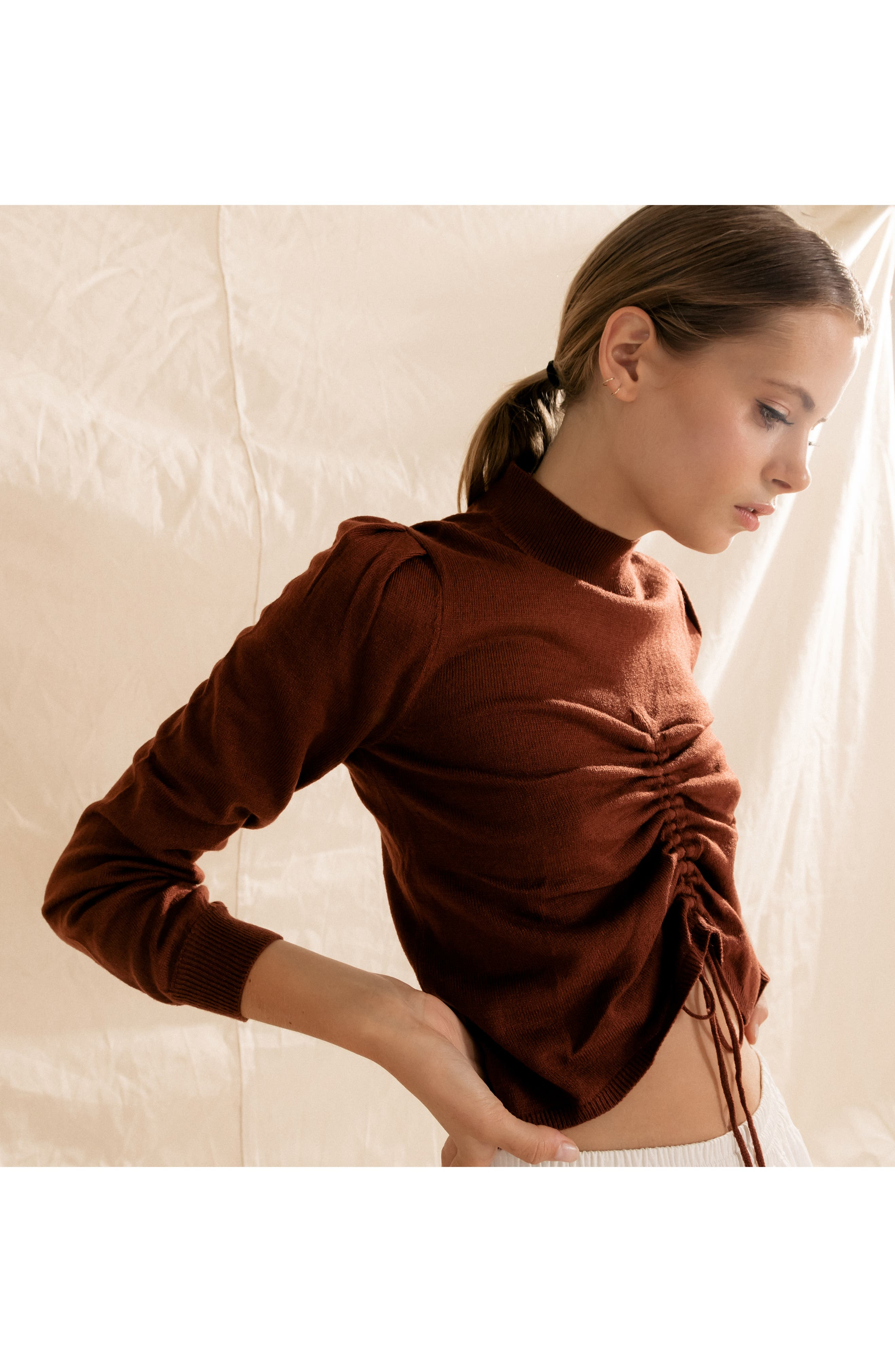 Chriselle Lim Madison Ruched Sweater,                             Alternate thumbnail 9, color,                             RUST