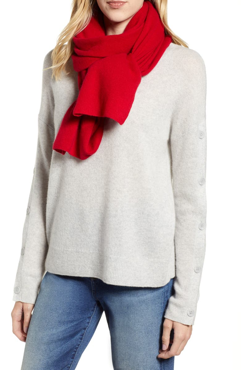 Solid Cashmere Scarf,                         Main,                         color, RED CHILI