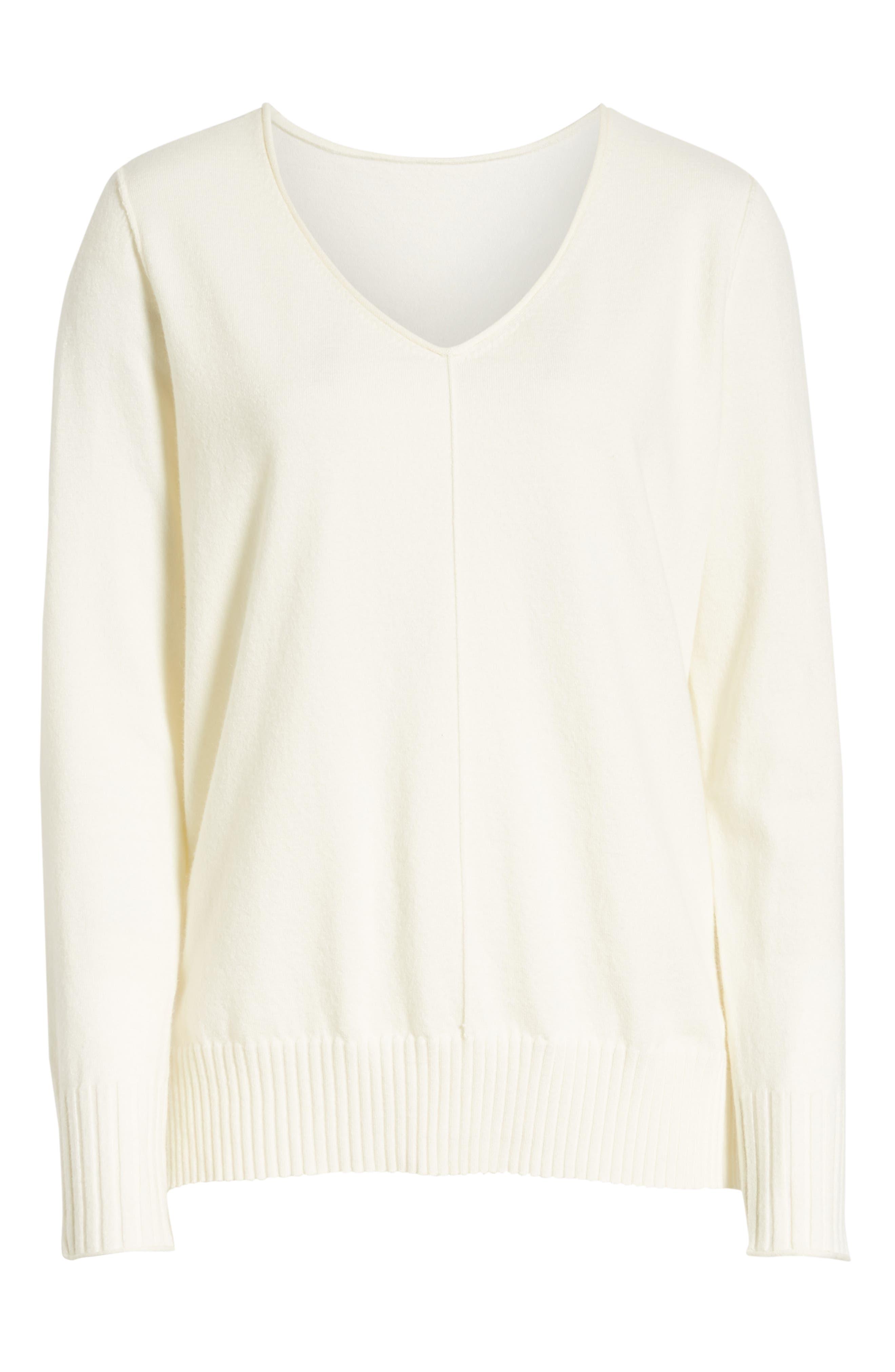 CASLON<SUP>®</SUP>,                             Side Slit Sweater,                             Alternate thumbnail 6, color,                             IVORY