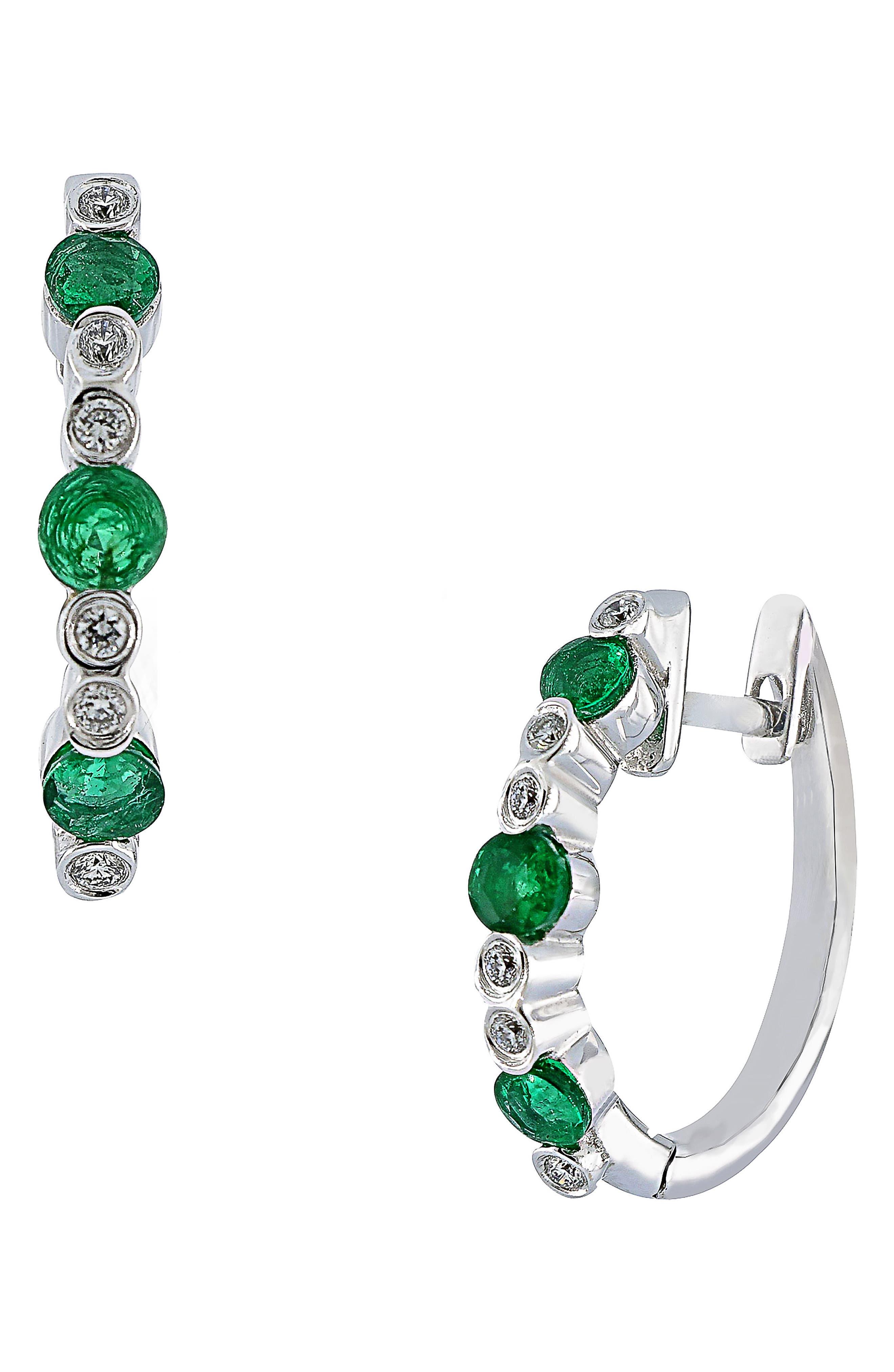 Emerald & Diamond Hoop Earrings, Main, color, 101