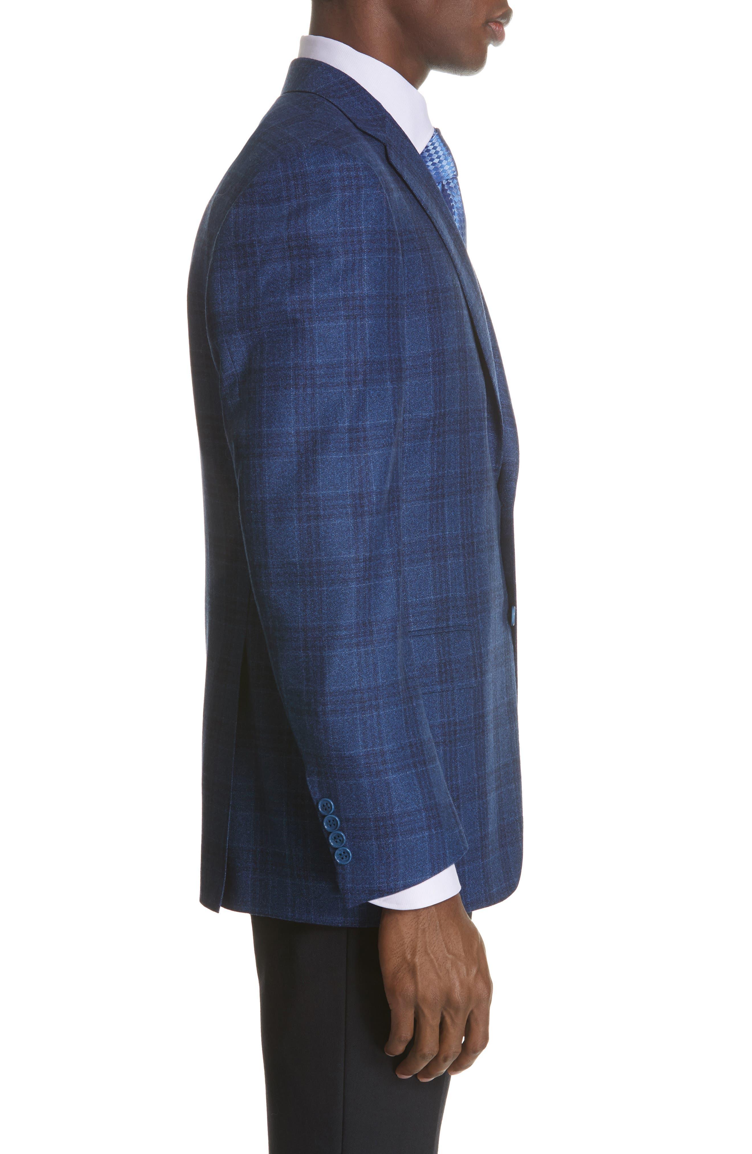 Classic Fit Plaid Wool Sport Coat,                             Alternate thumbnail 3, color,                             BRIGHT BLUE