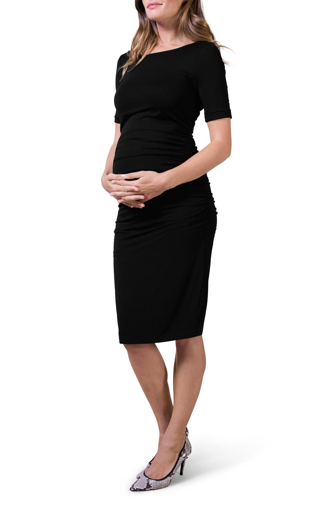 ISABELLA OLIVER Ruched Maternity Dress, Main, color, 001