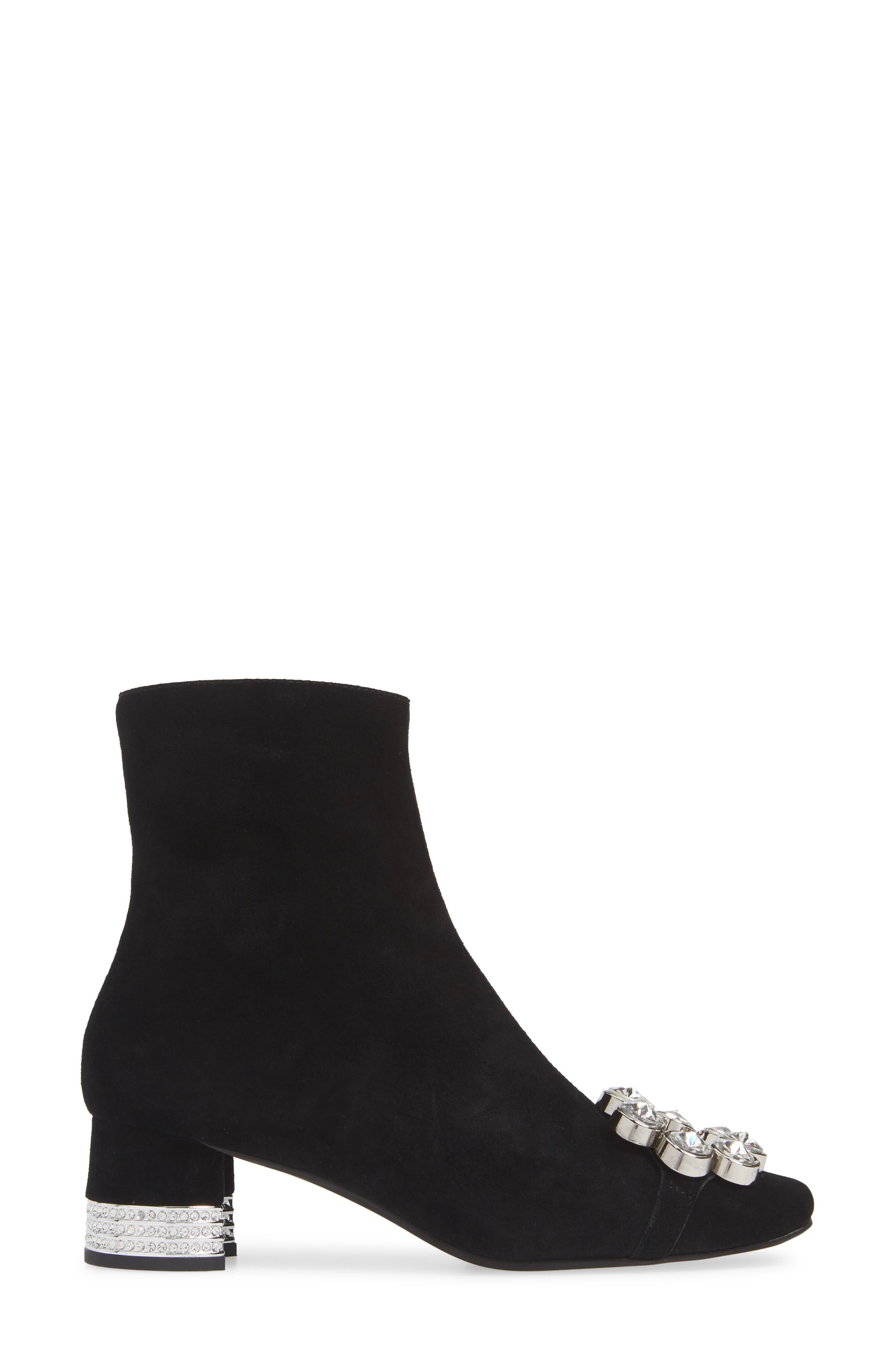 Sumatra Embellished Bootie,                             Alternate thumbnail 3, color,                             BLACK SUEDE