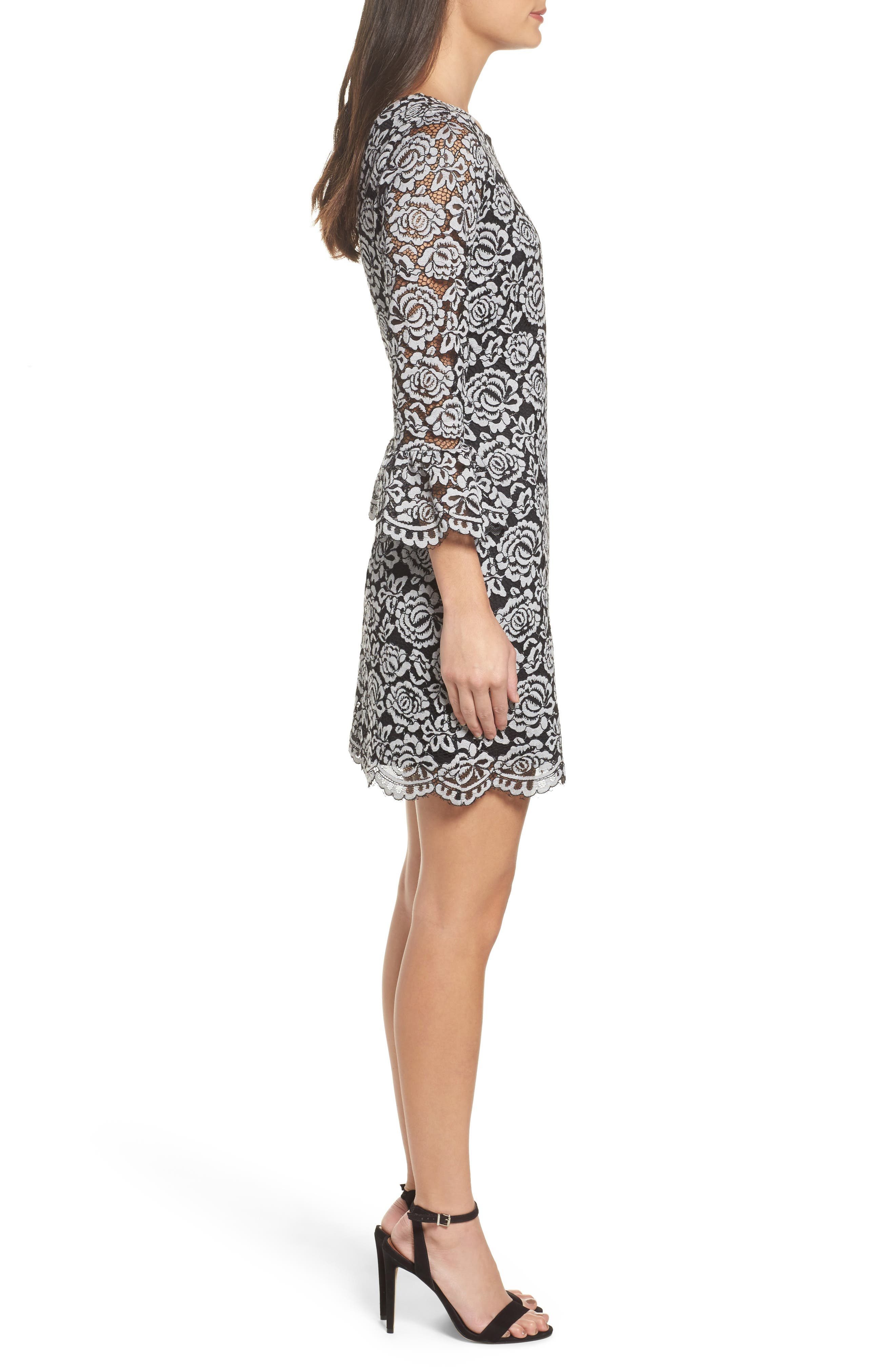 Lace Bell Sleeve Dress,                             Alternate thumbnail 9, color,