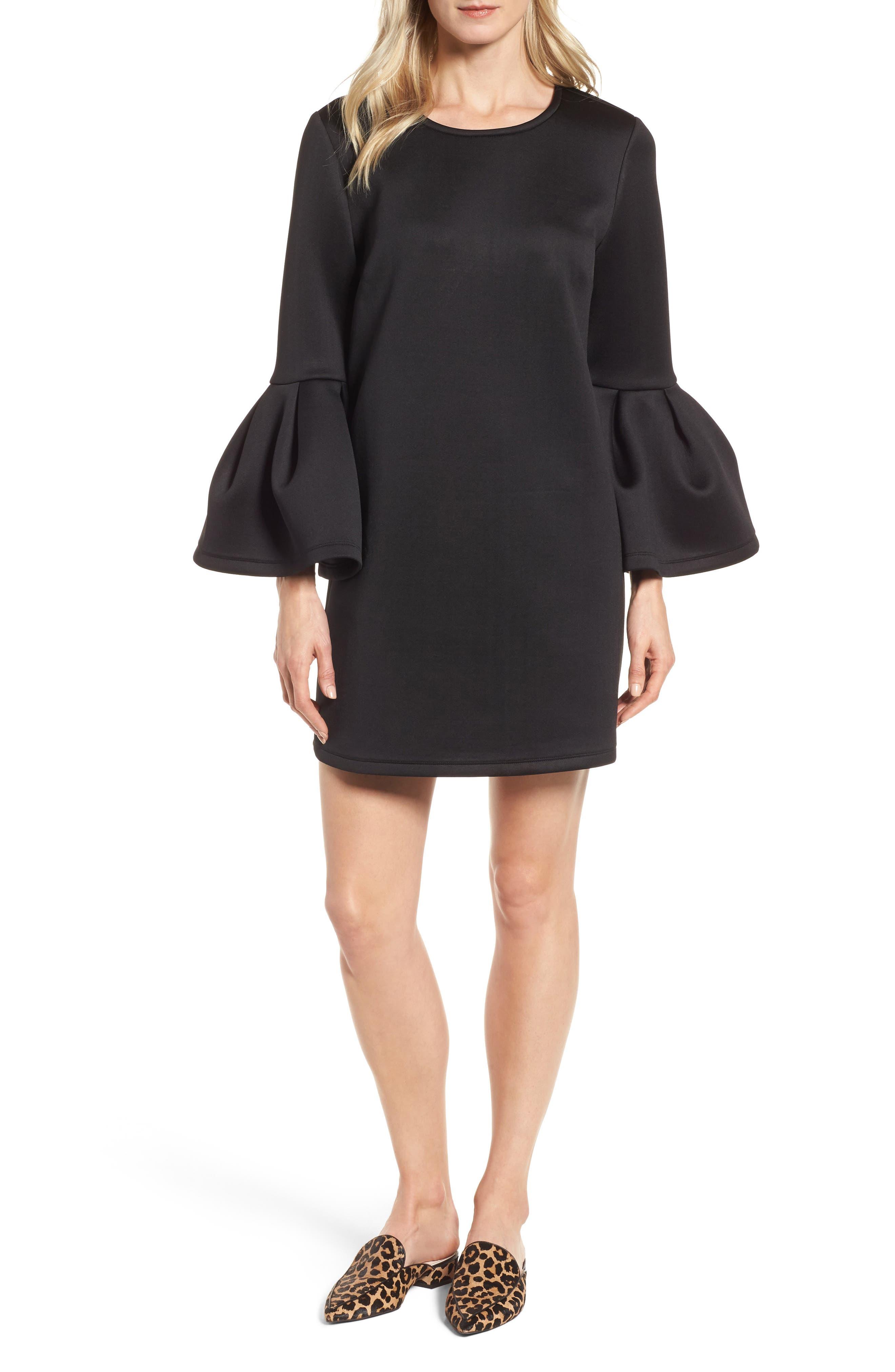Bell Sleeve A-Line Dress,                             Main thumbnail 1, color,                             001