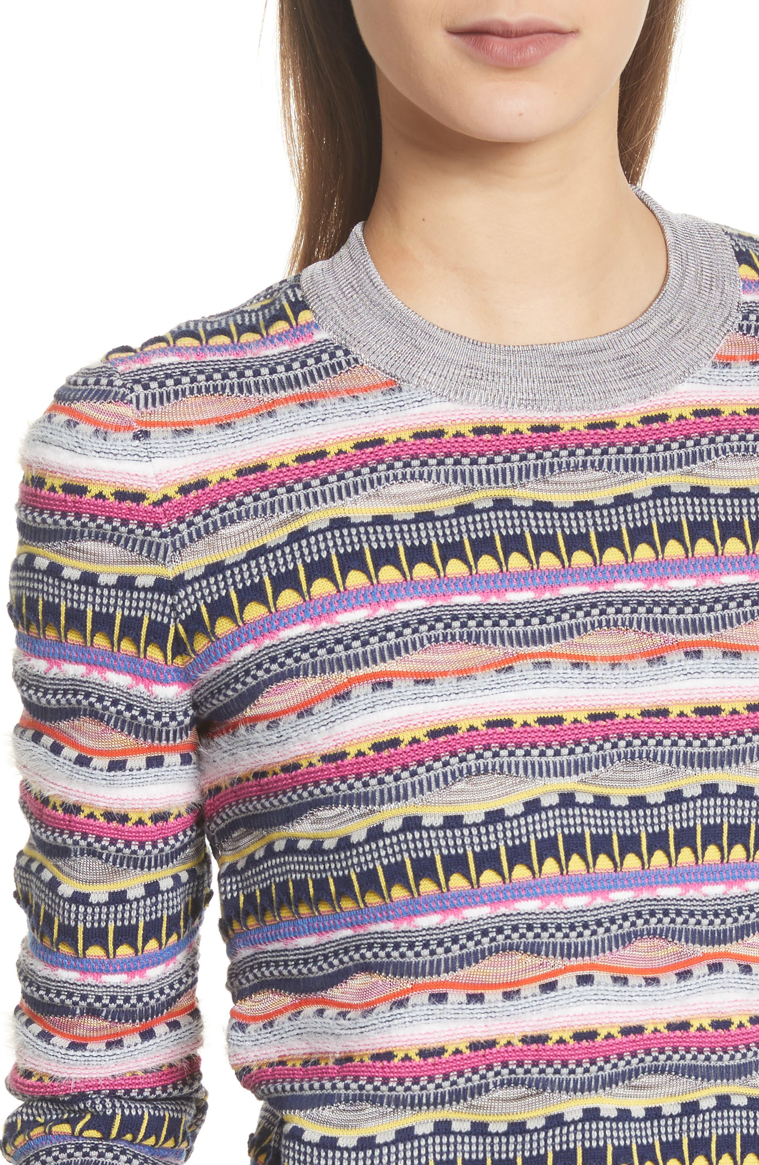 Knit Cotton Blend Sweater,                             Alternate thumbnail 4, color,
