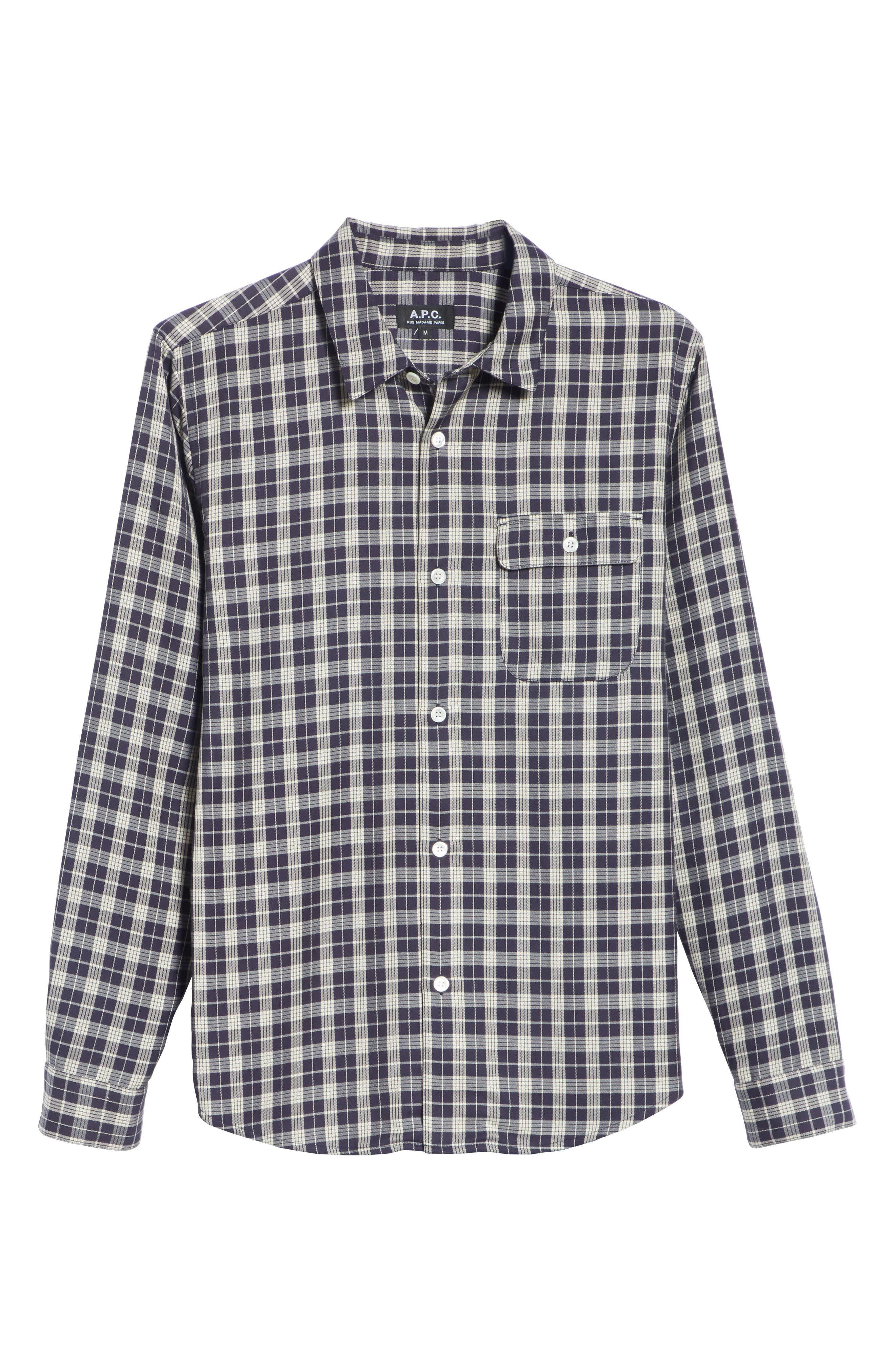 Check Woven Shirt,                             Alternate thumbnail 6, color,                             IAK NAVY
