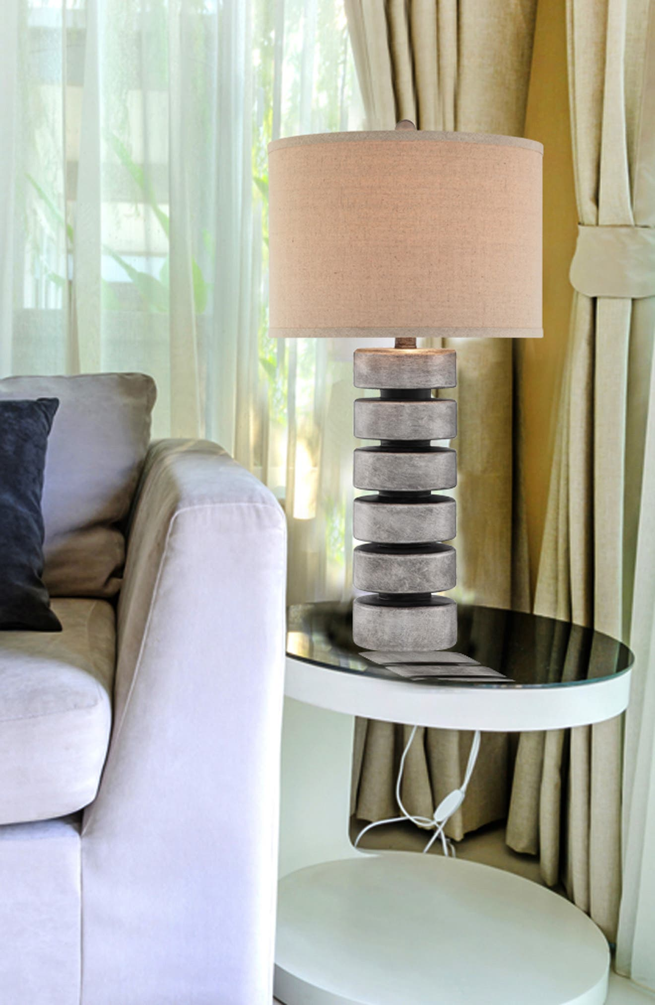 'Stacked Disc' Table Lamp,                             Alternate thumbnail 3, color,                             ANTIQUE PEWTER