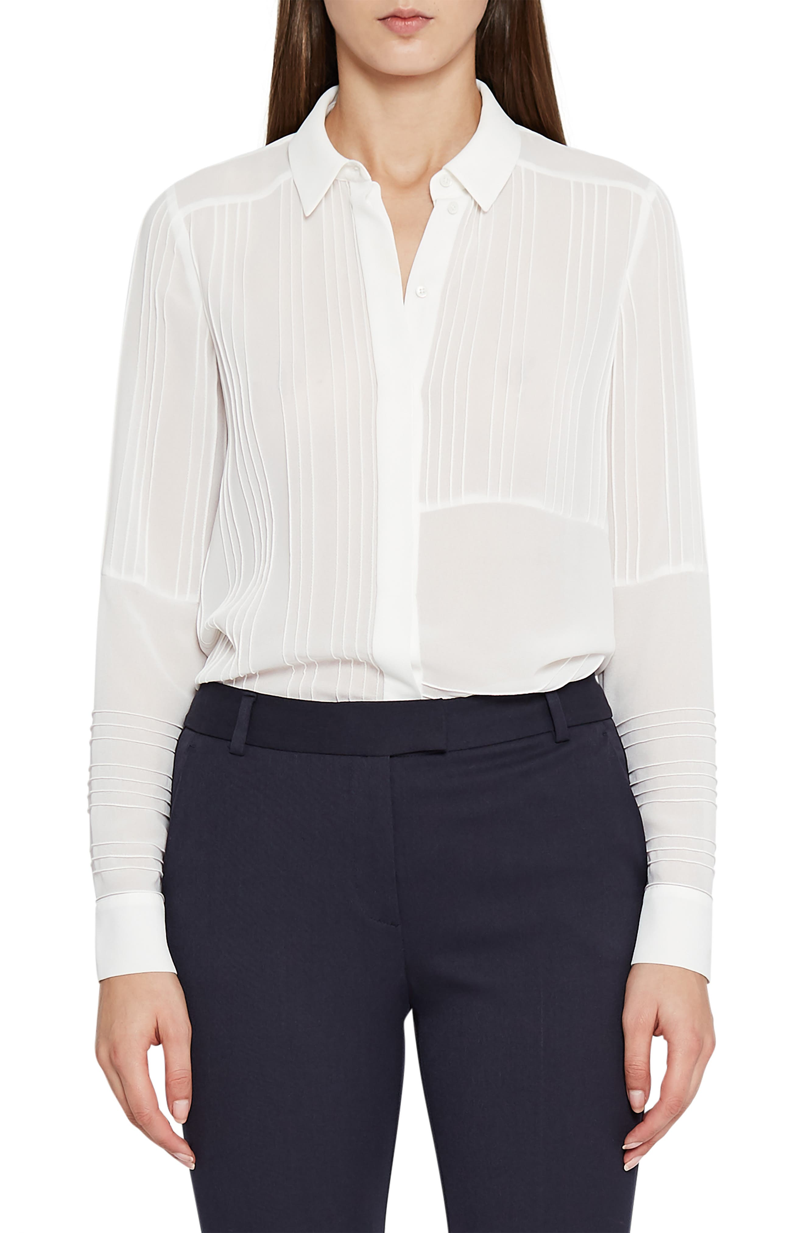Lulu Pintuck Blouse,                         Main,                         color, WHITE