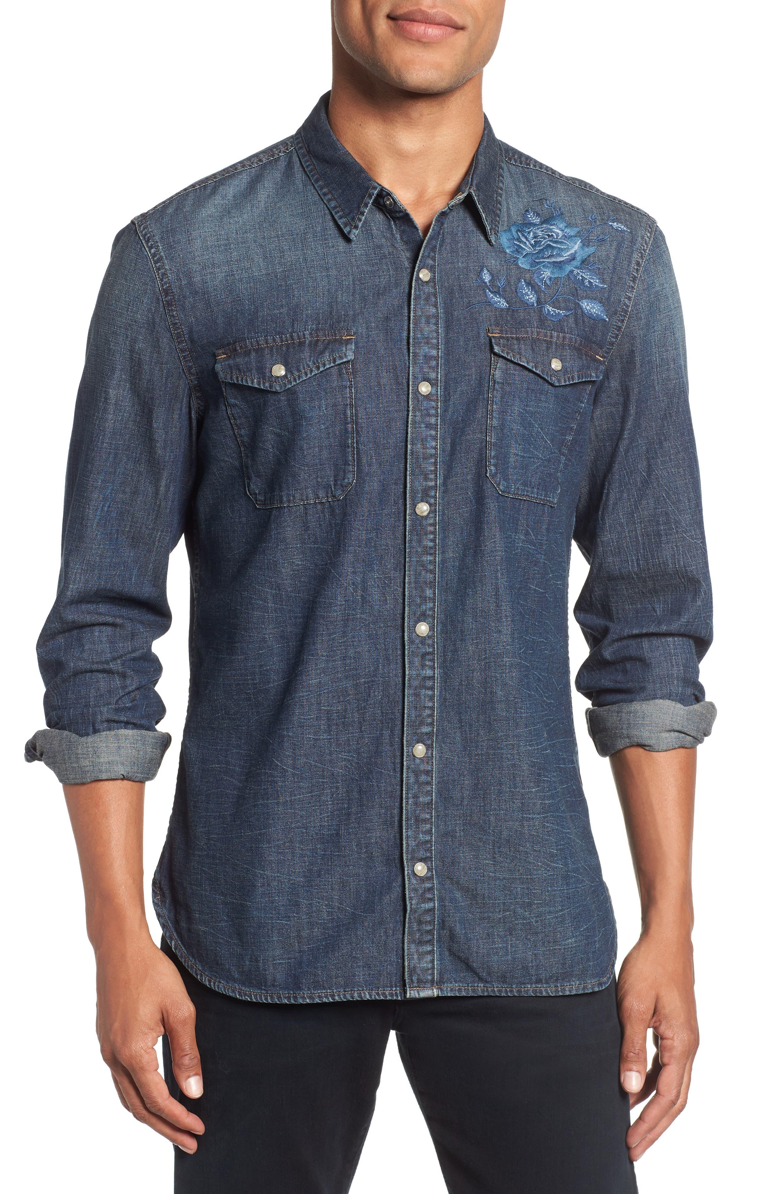 Desert Rose Denim Shirt,                         Main,                         color, INDIGO