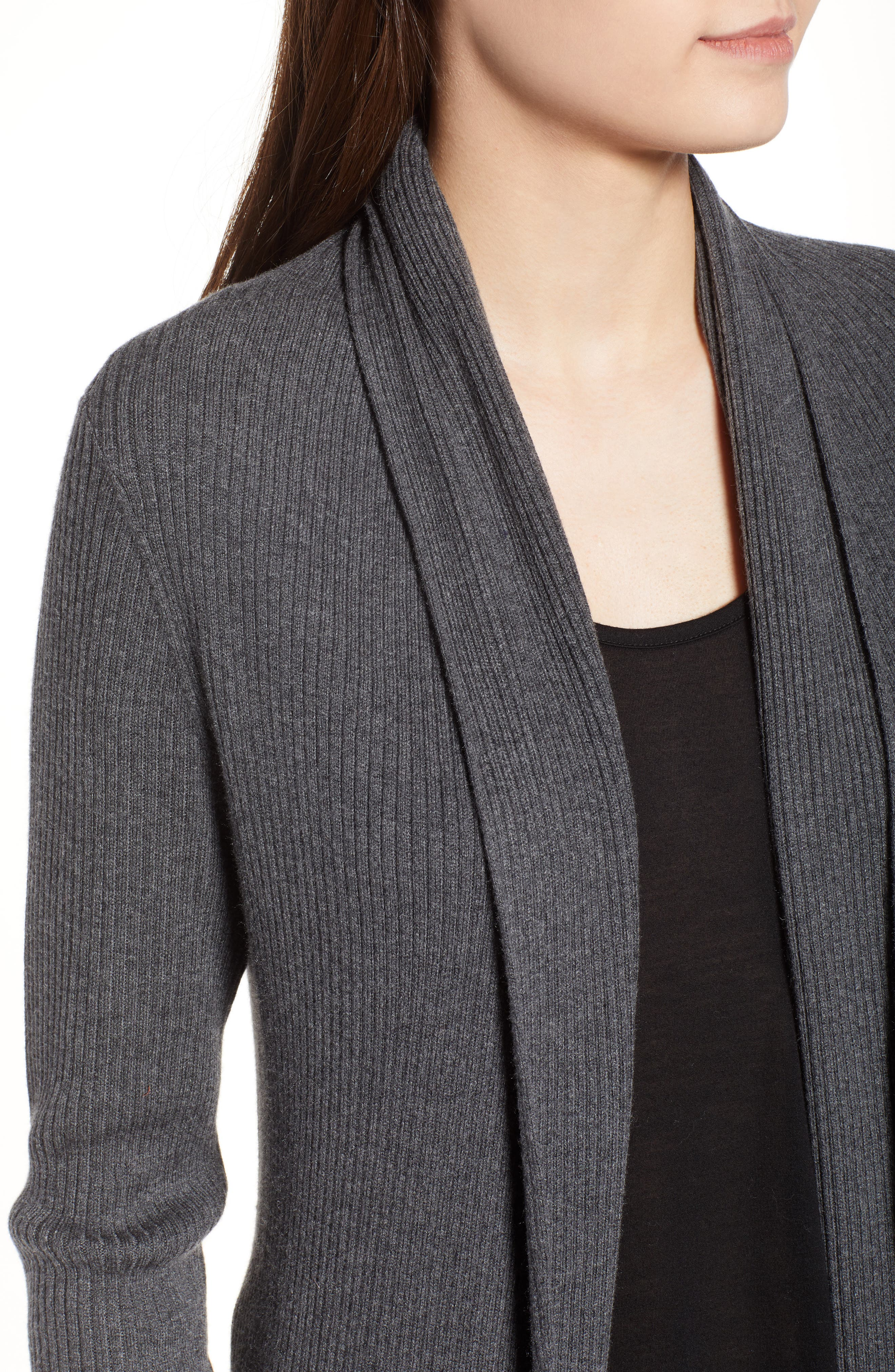 Ribbed Shawl Cocoon Sweater,                             Alternate thumbnail 4, color,                             GREY MEDIUM CHARCOAL HEATHER