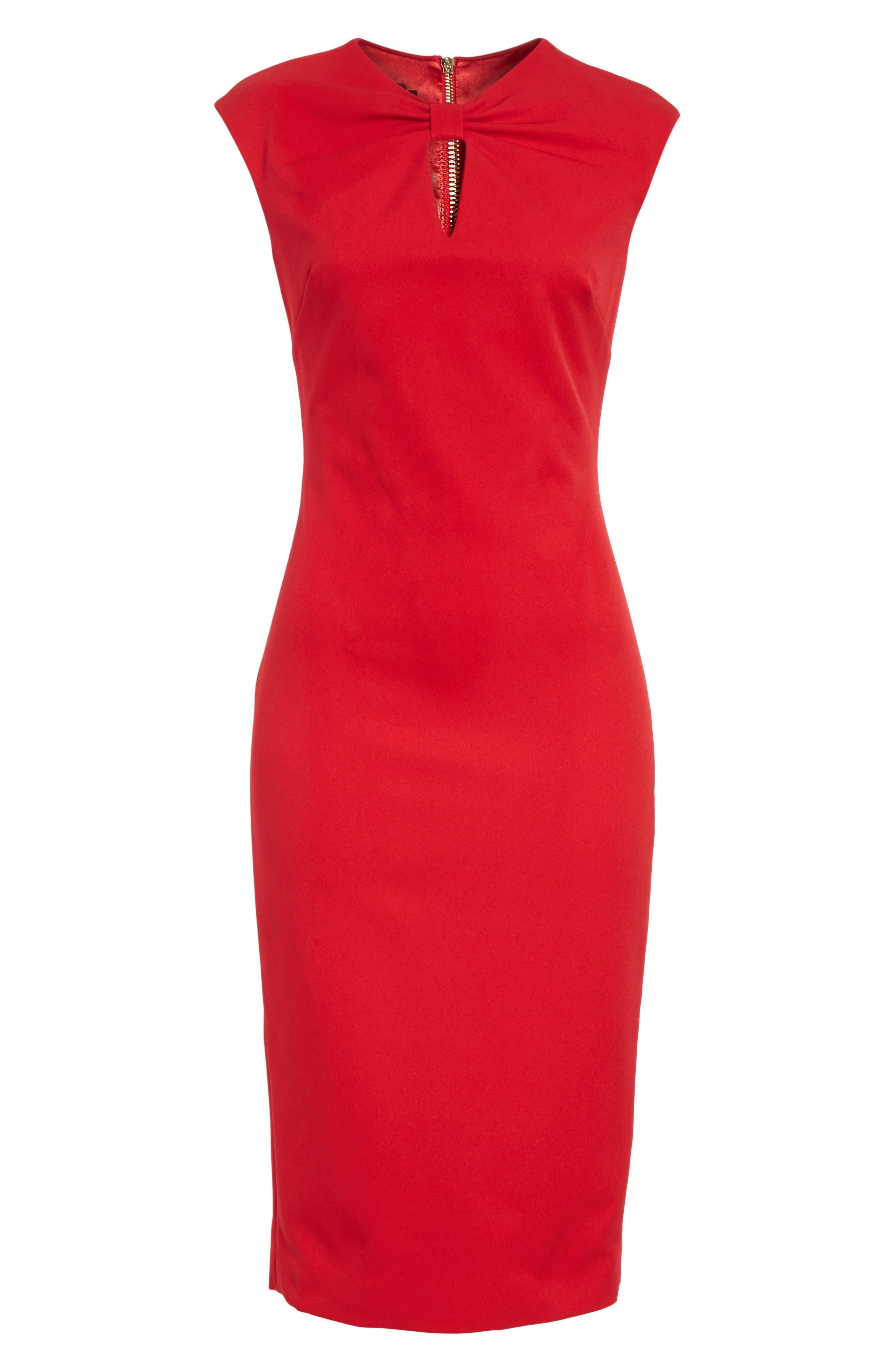Kezzia Bow Neck Body-Con Dress,                             Alternate thumbnail 12, color,