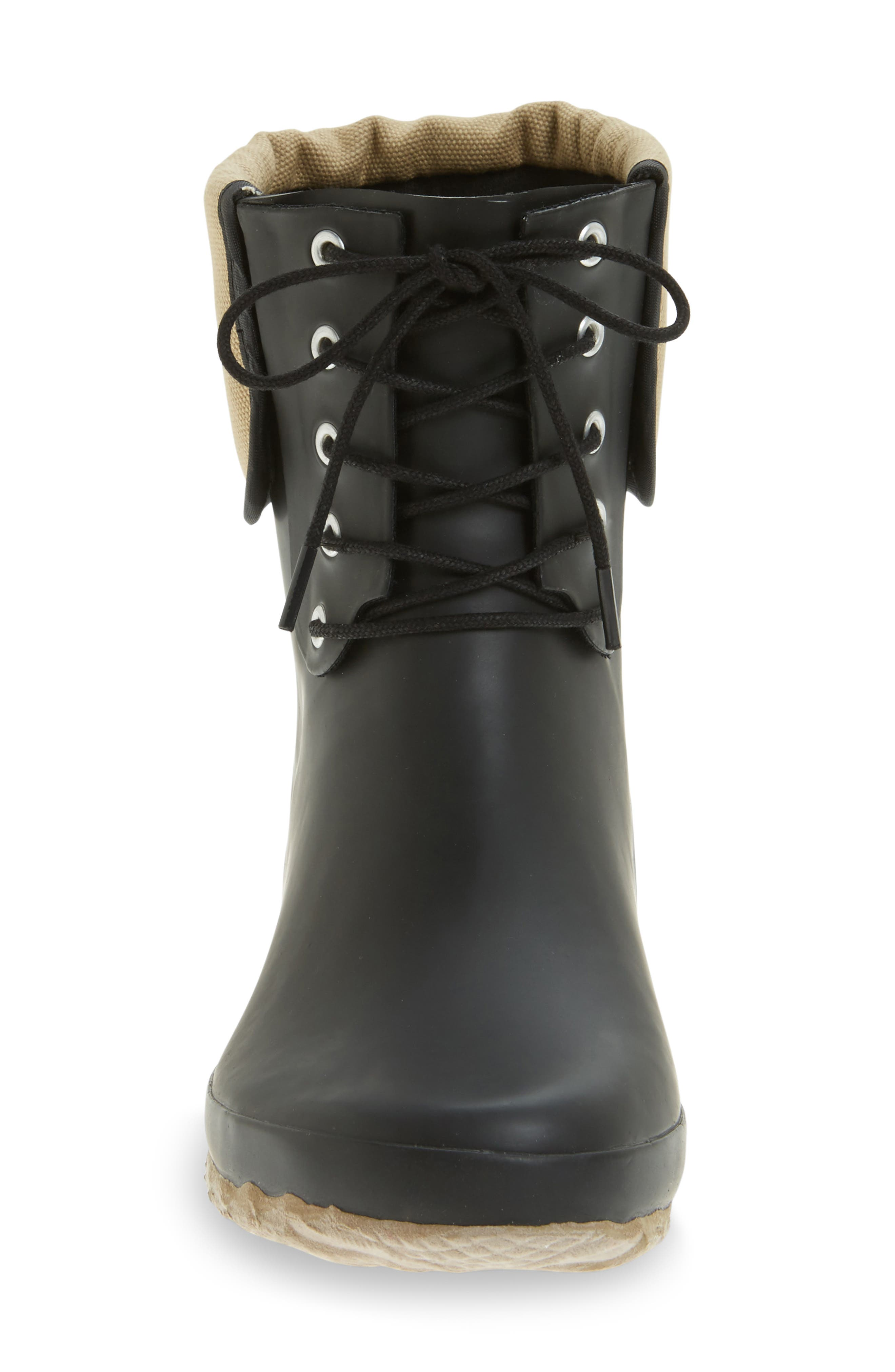 Lace-Up Mid Weatherproof Boot,                             Alternate thumbnail 3, color,                             BLACK