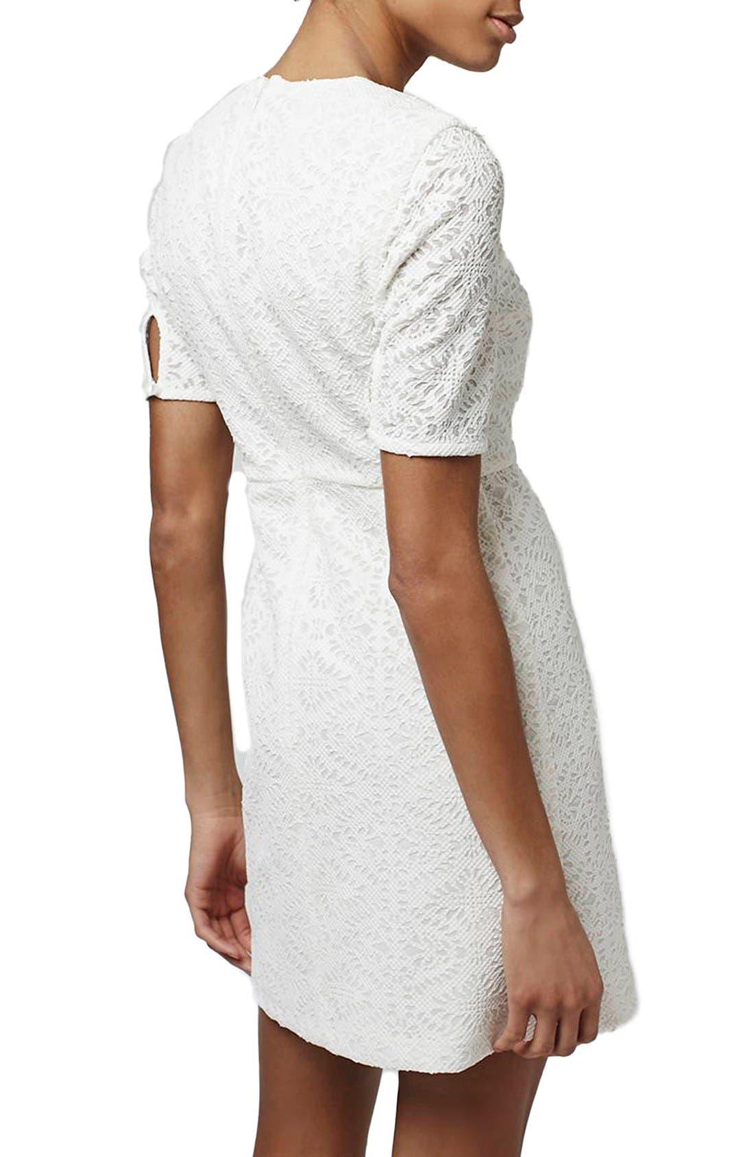 TOPSHOP,                             Laser Cut Lace Shift Dress,                             Alternate thumbnail 5, color,                             900