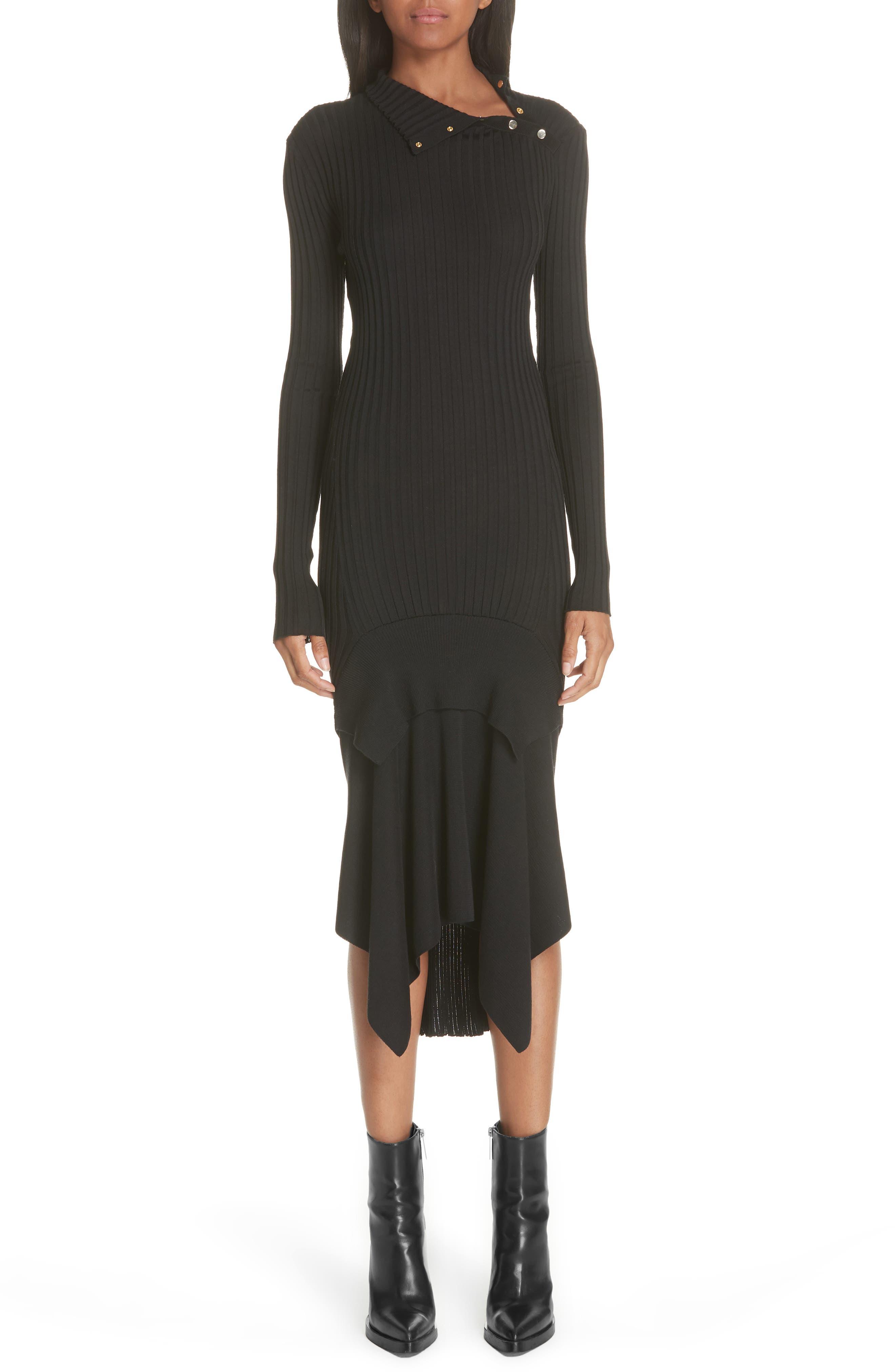 Snap Neck Rib Knit Sweater Dress,                             Main thumbnail 1, color,                             001