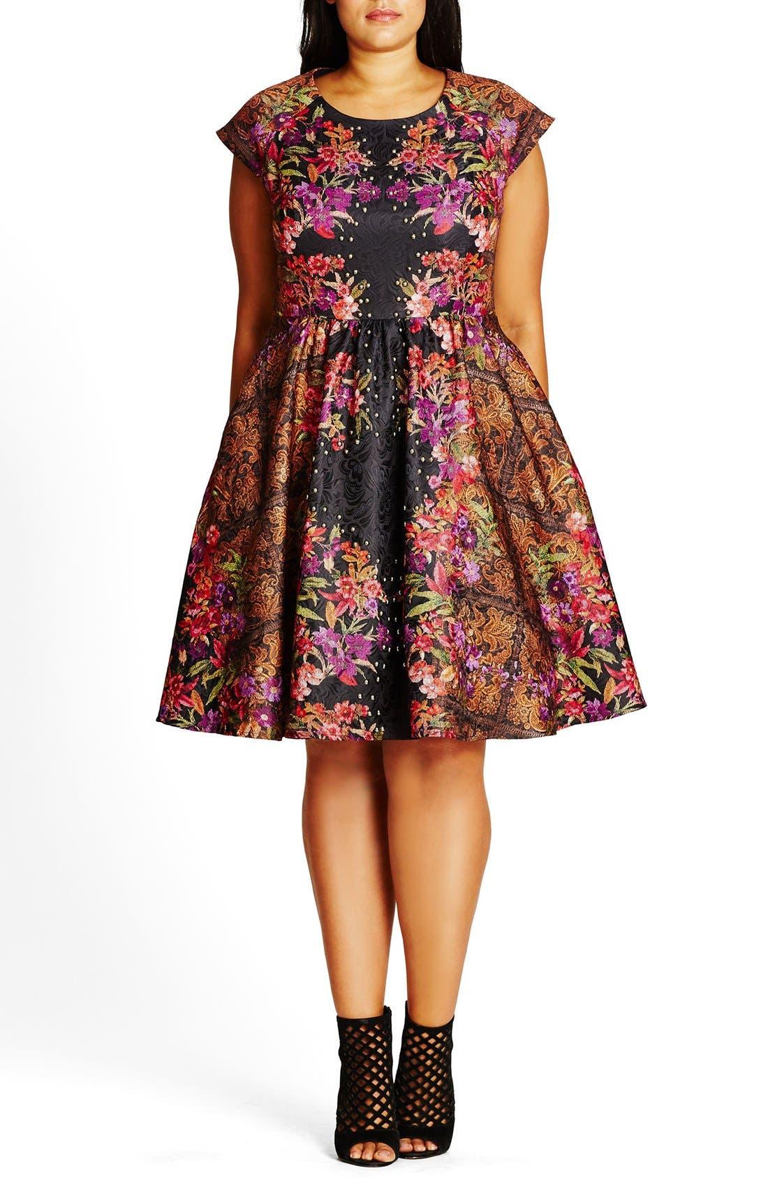 'Femme Royale' Fit & Flare Dress,                             Main thumbnail 1, color,