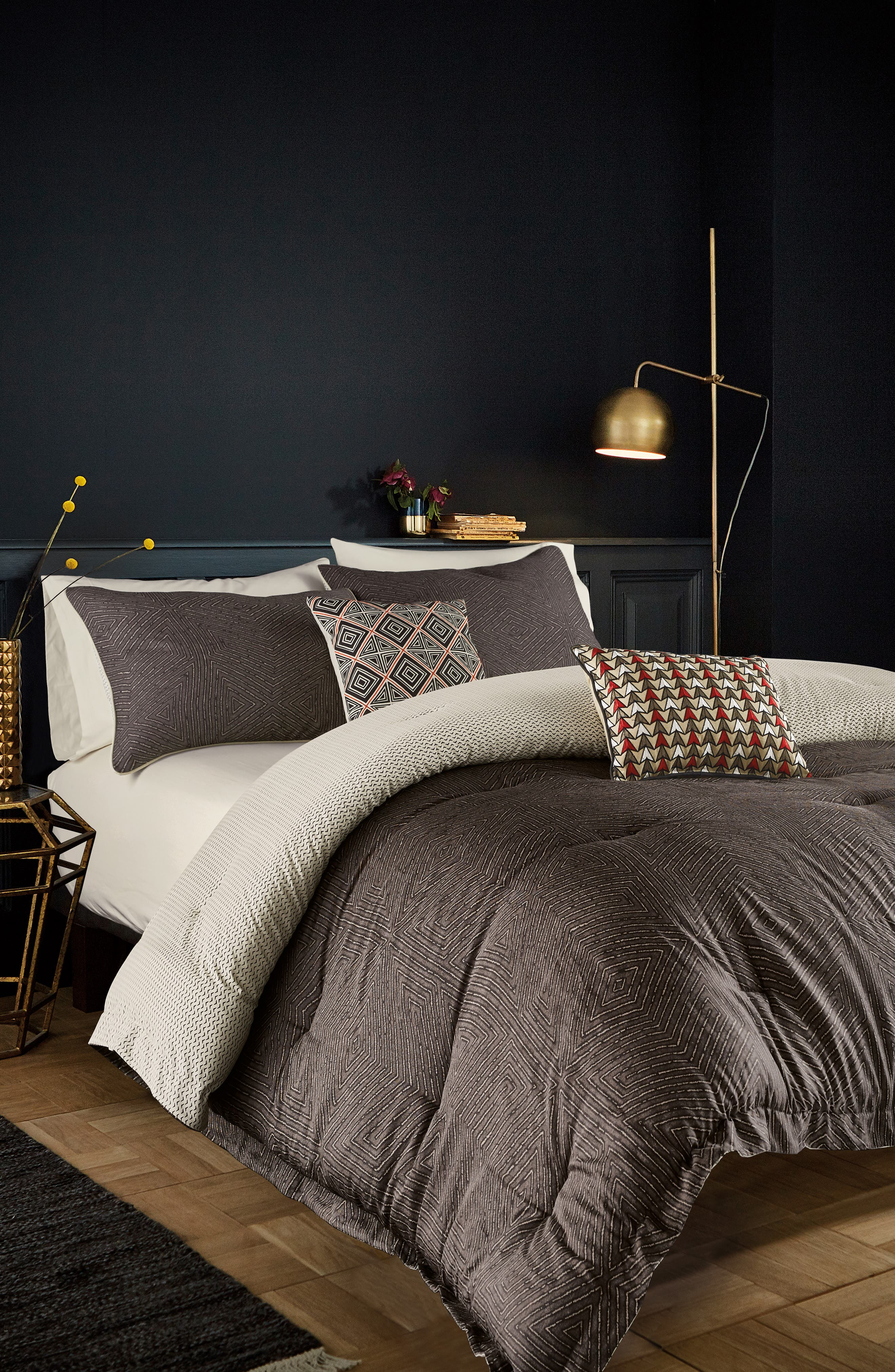 BEDECK Arro Comforter, Sham & Accent Pillow Set, Main, color, CHARCOAL