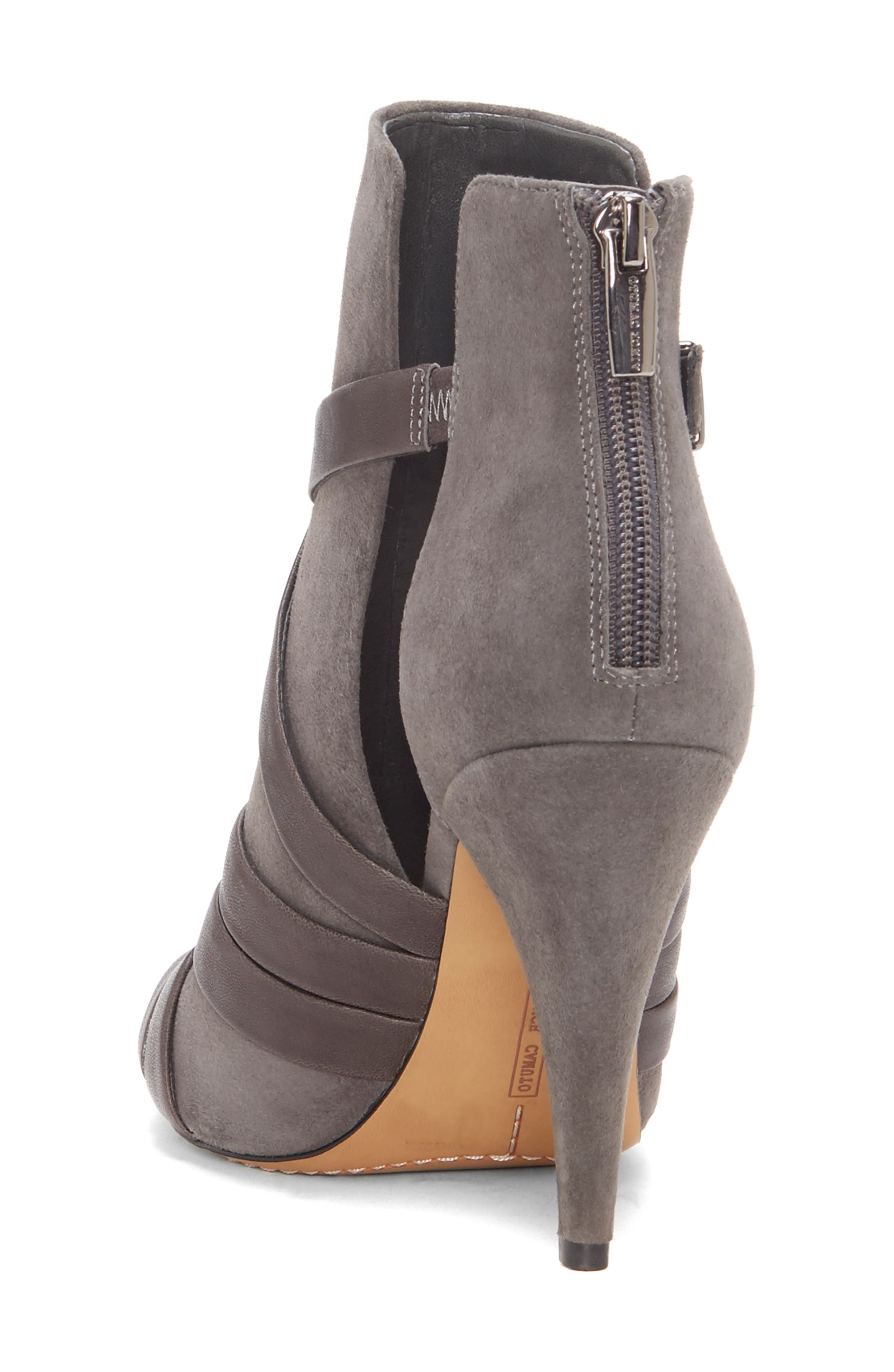 Achika Belted Peep Toe Bootie,                             Alternate thumbnail 2, color,                             POWER GREY LEATHER