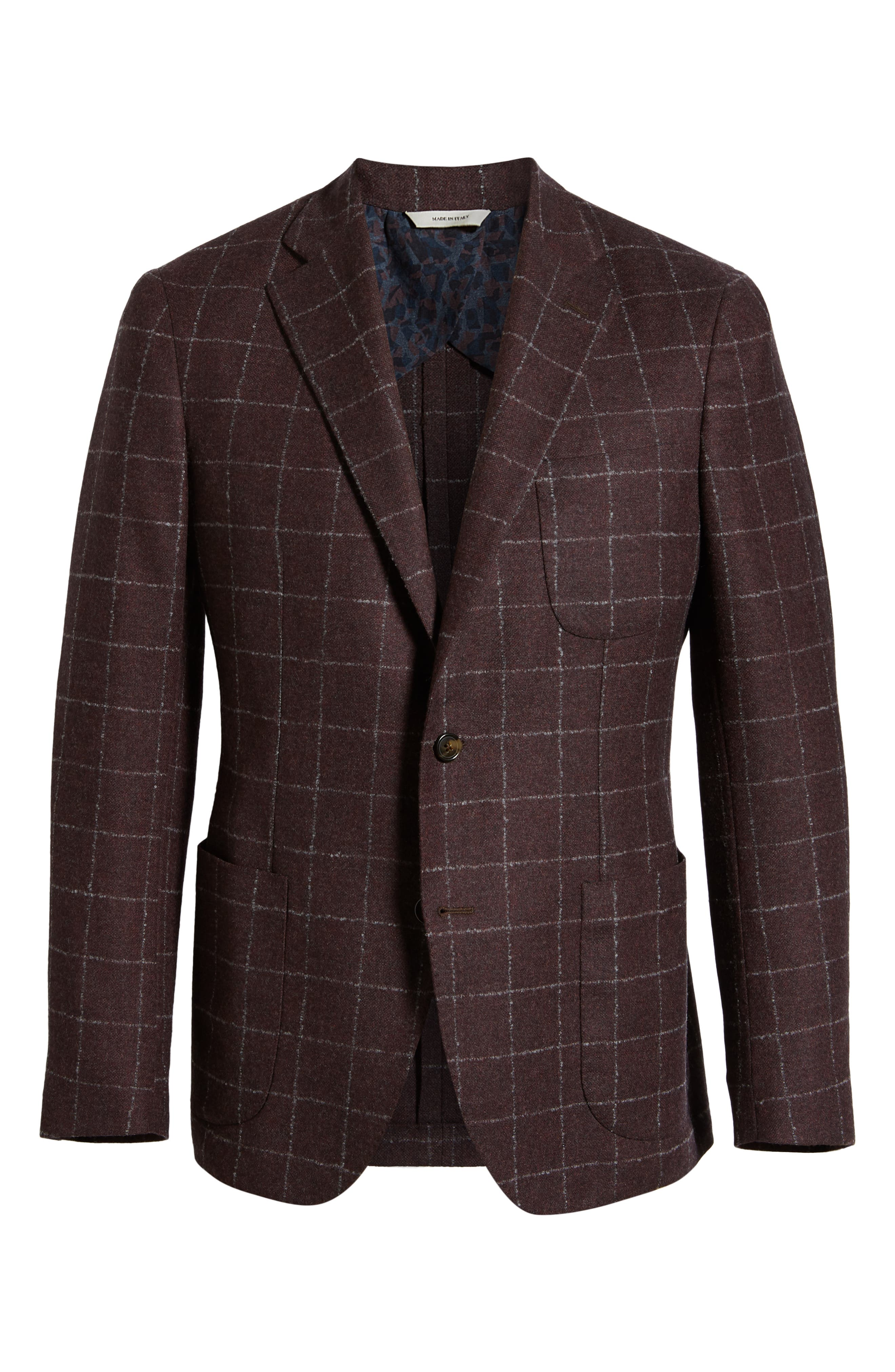 Trim Fit Windowpane Wool & Cashmere Sport Coat,                             Alternate thumbnail 5, color,                             DARK RED