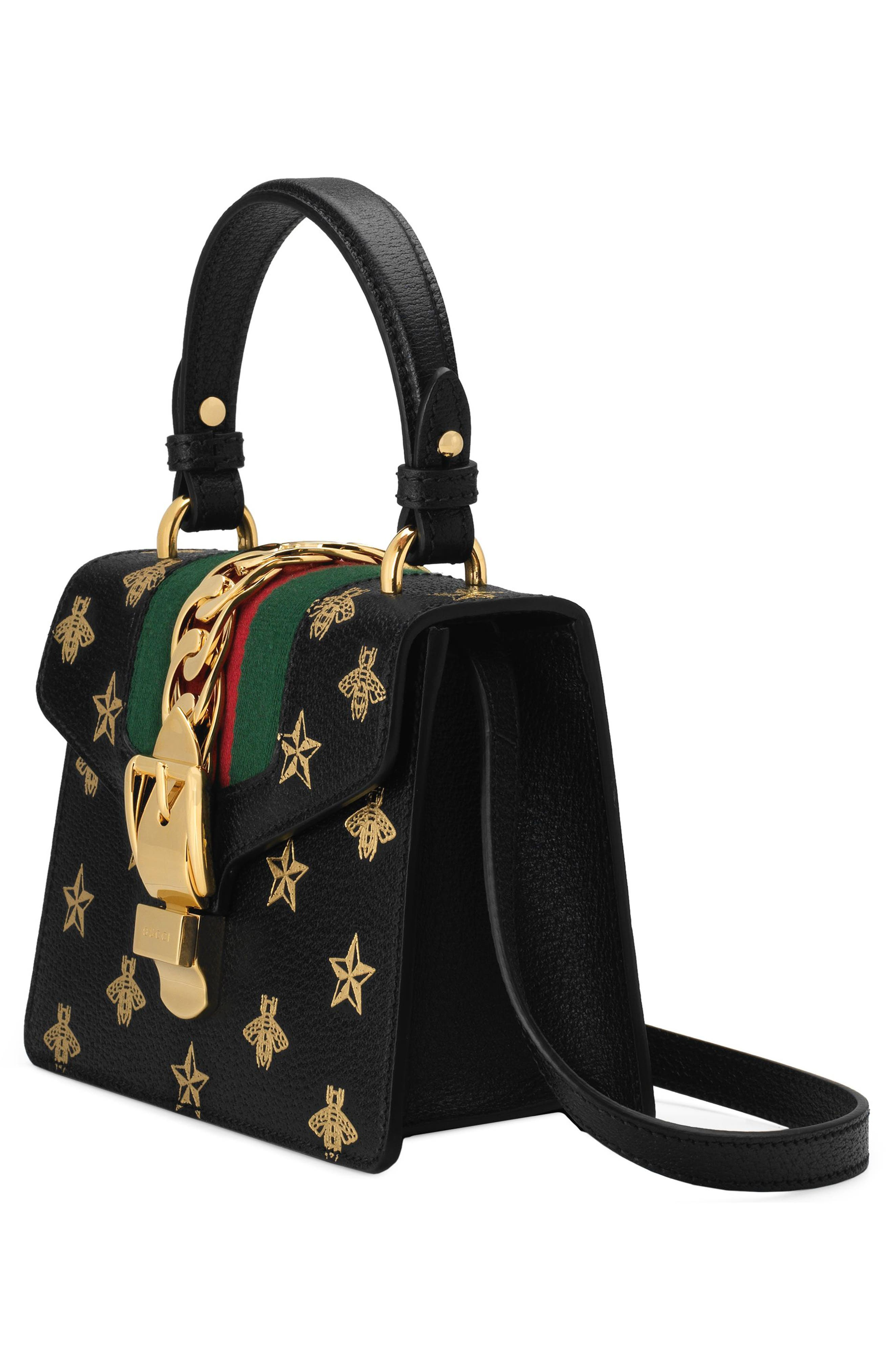 Small Sylvie Top Handle Leather Shoulder Bag,                             Alternate thumbnail 4, color,                             NERO/ ORO/ VERT/ RED