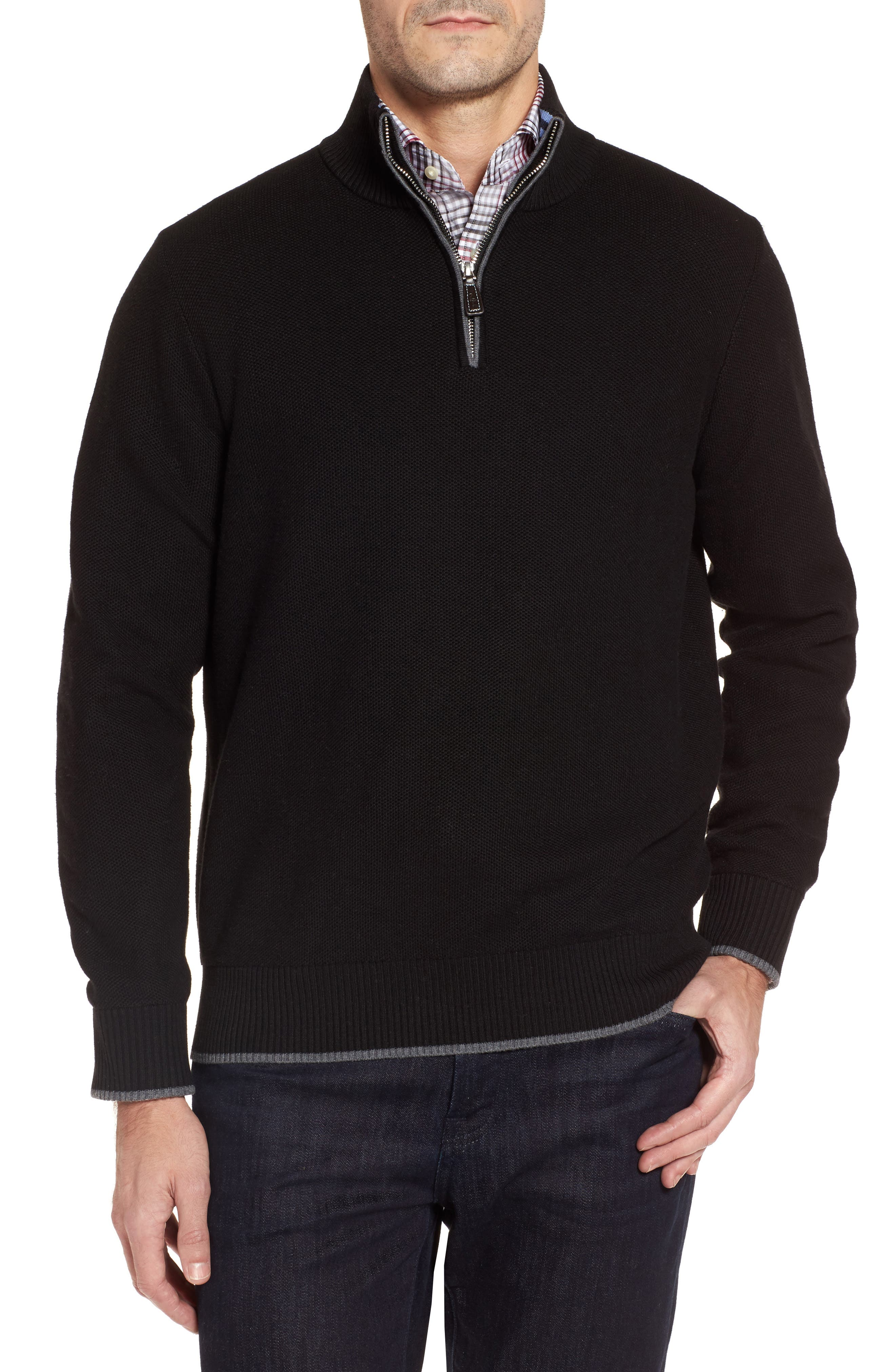 Lafitte Tipped Quarter Zip Sweater,                             Main thumbnail 1, color,                             001