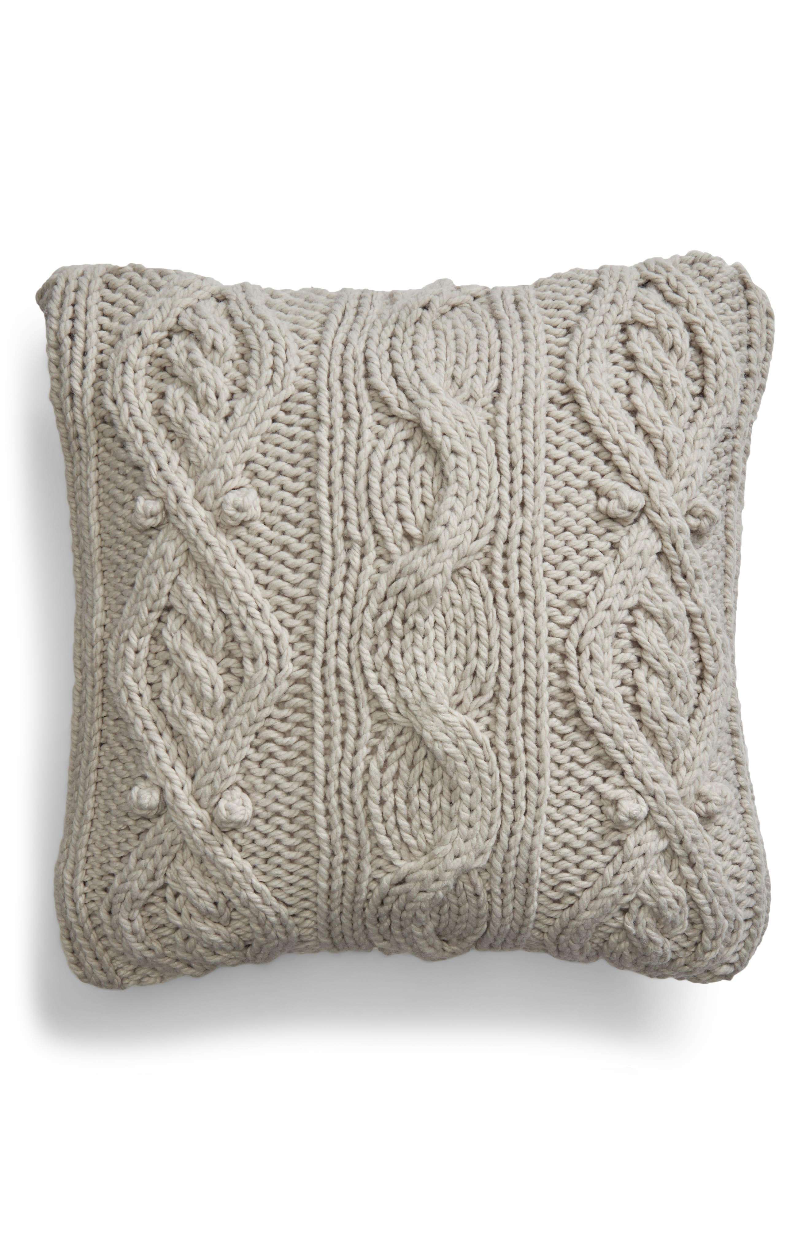 Chunky Cable Knit Accent Pillow,                         Main,                         color, 020
