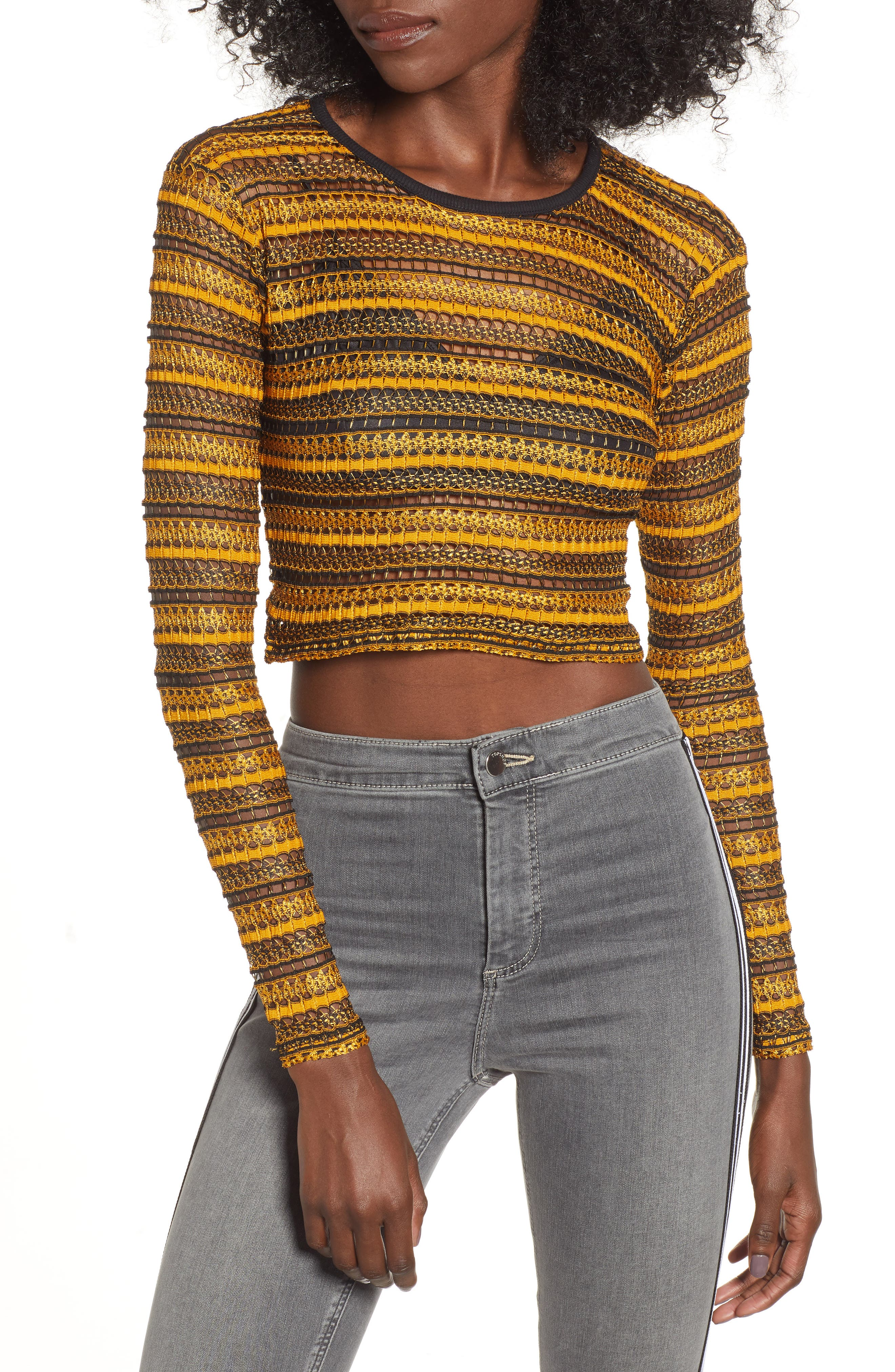 Stripe Lace Crop Top,                             Main thumbnail 1, color,                             YELLOW MULTI