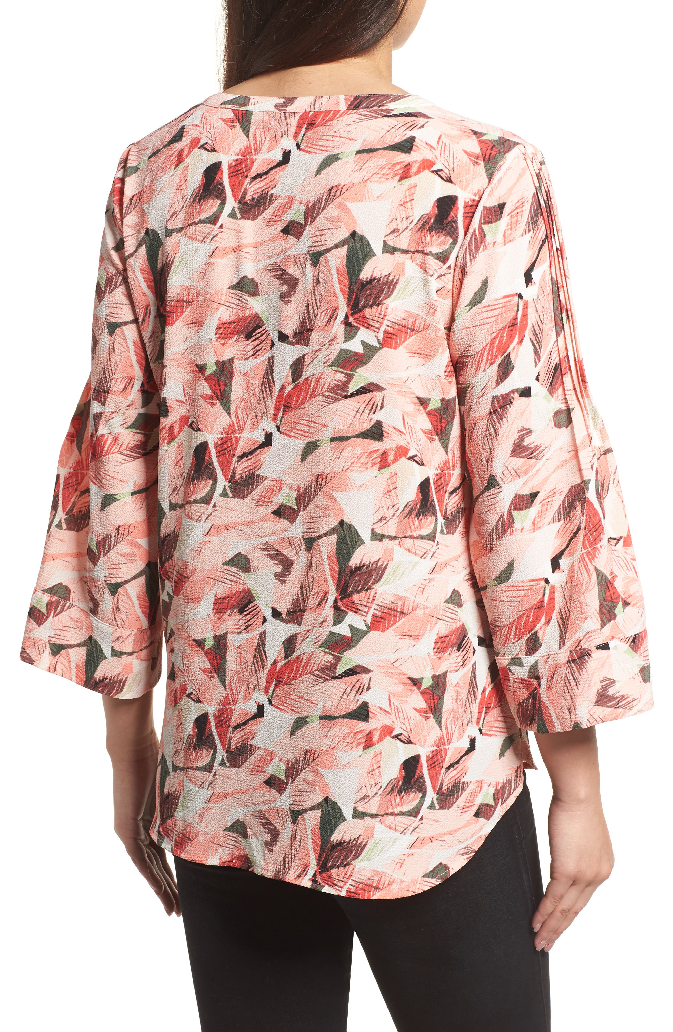 Tropical Print Pleated Sleeve Top,                             Alternate thumbnail 2, color,                             650