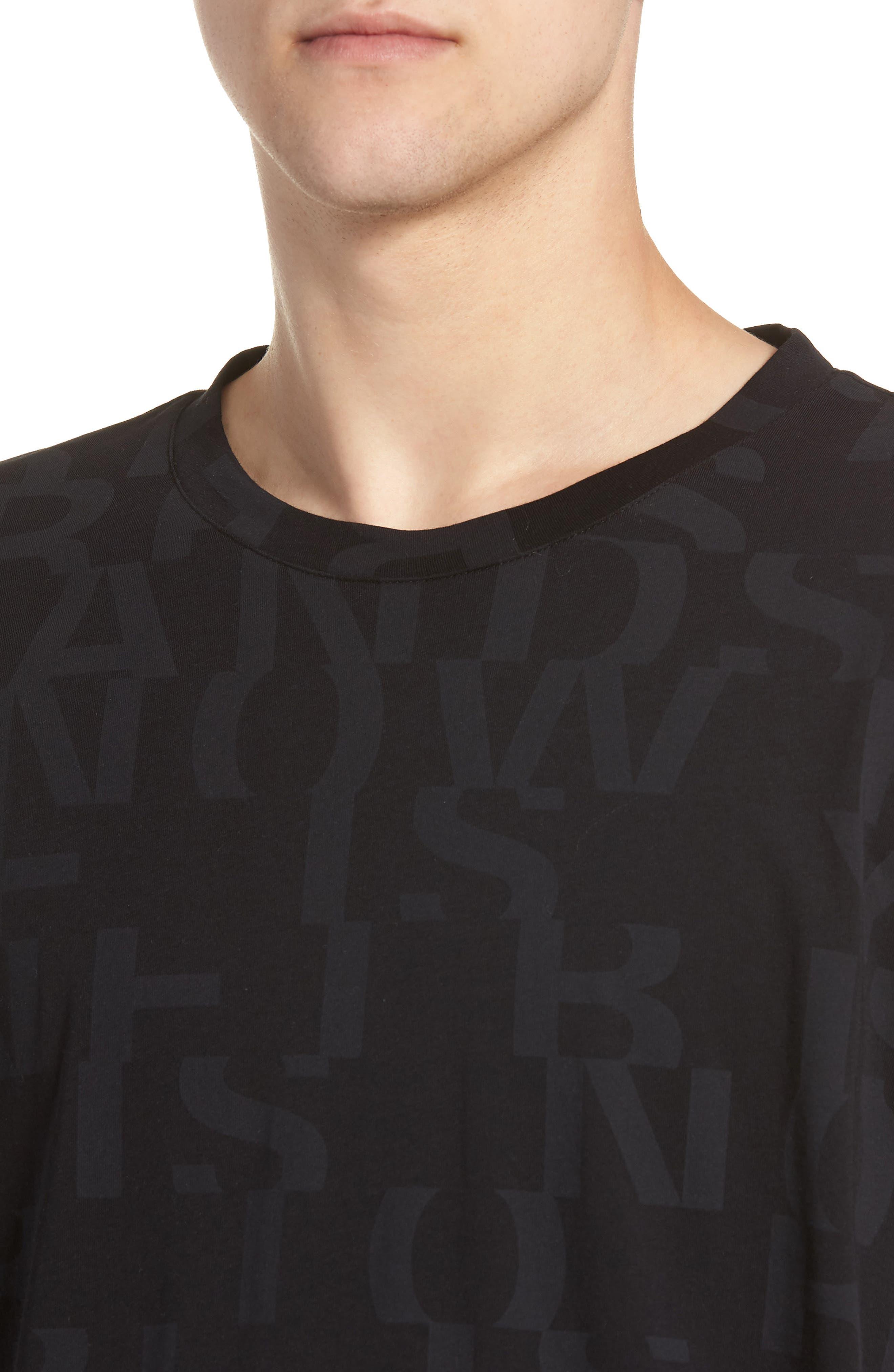 Dyrics Letter Graphic T-Shirt,                             Alternate thumbnail 4, color,                             BLACK