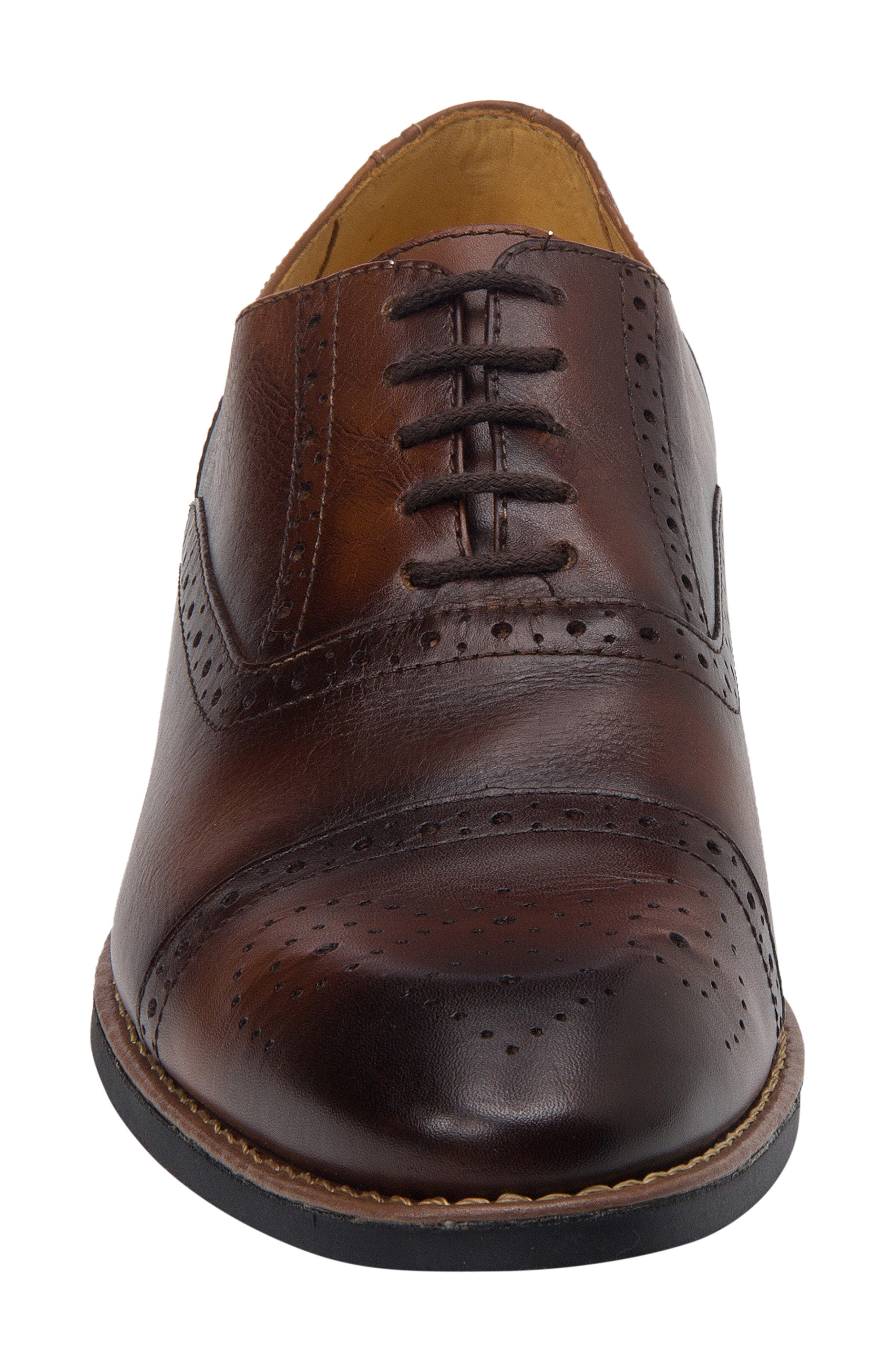 SANDRO MOSCOLONI,                             Murali Cap Toe Oxford,                             Alternate thumbnail 4, color,                             BROWN LEATHER