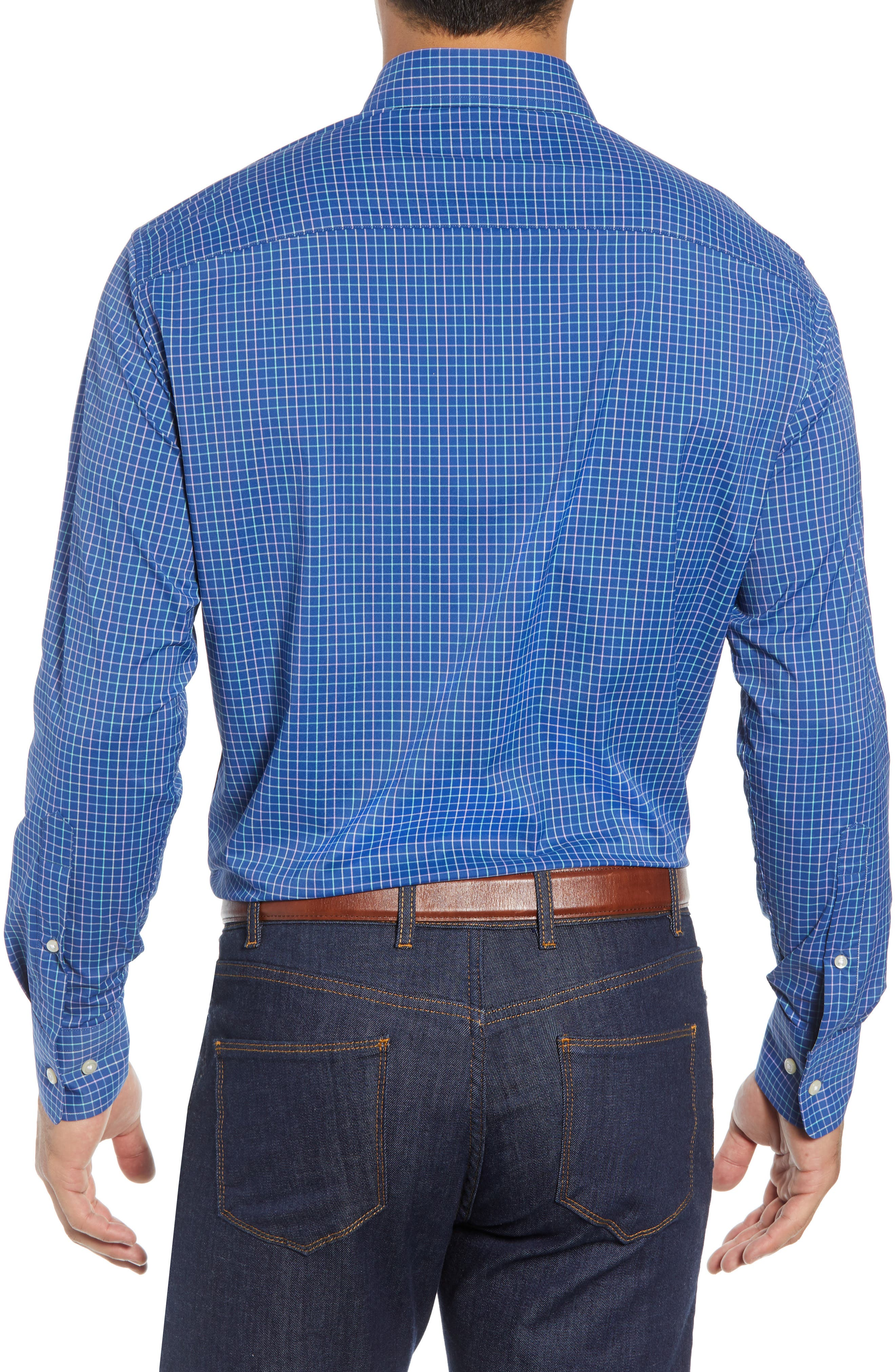 Montgomery Regular Fit Performance Sport Shirt,                             Alternate thumbnail 3, color,                             PLAZA BLUE
