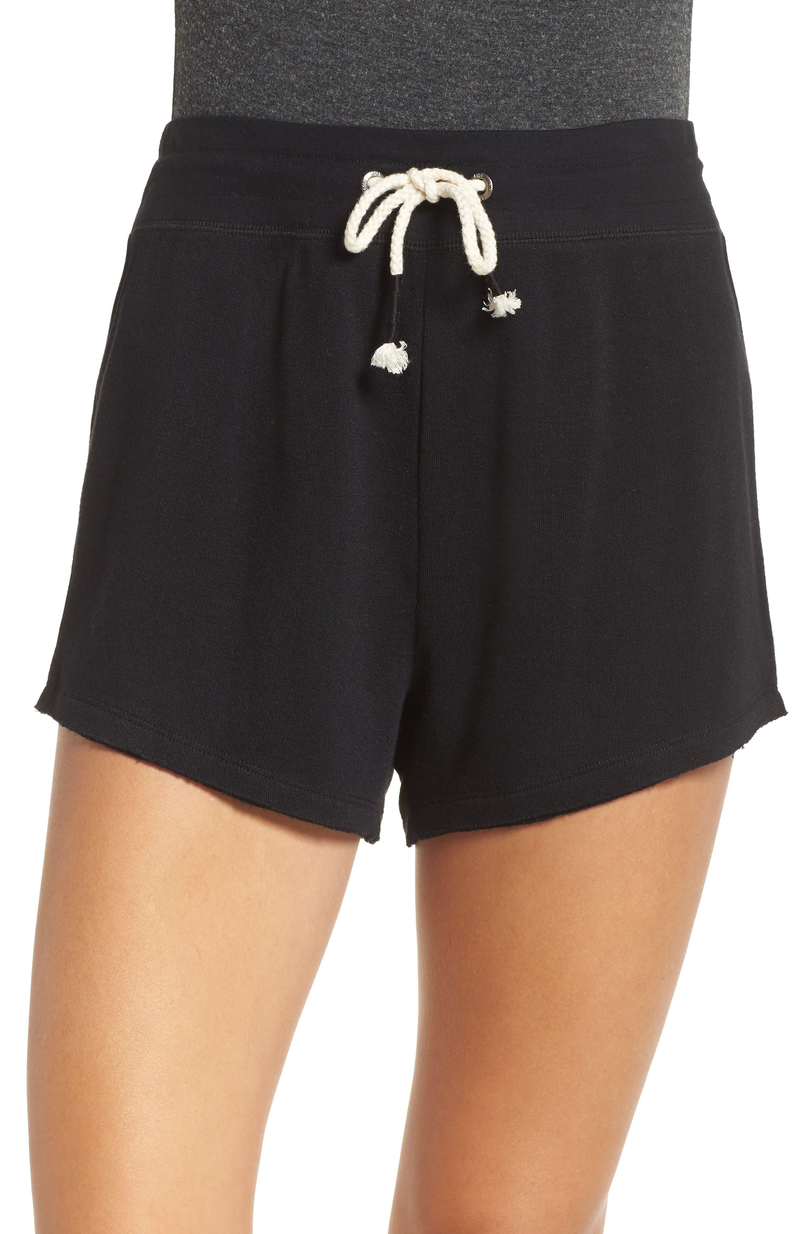 Dreamy High Rise Fleece Shorts,                             Main thumbnail 1, color,                             BLACK