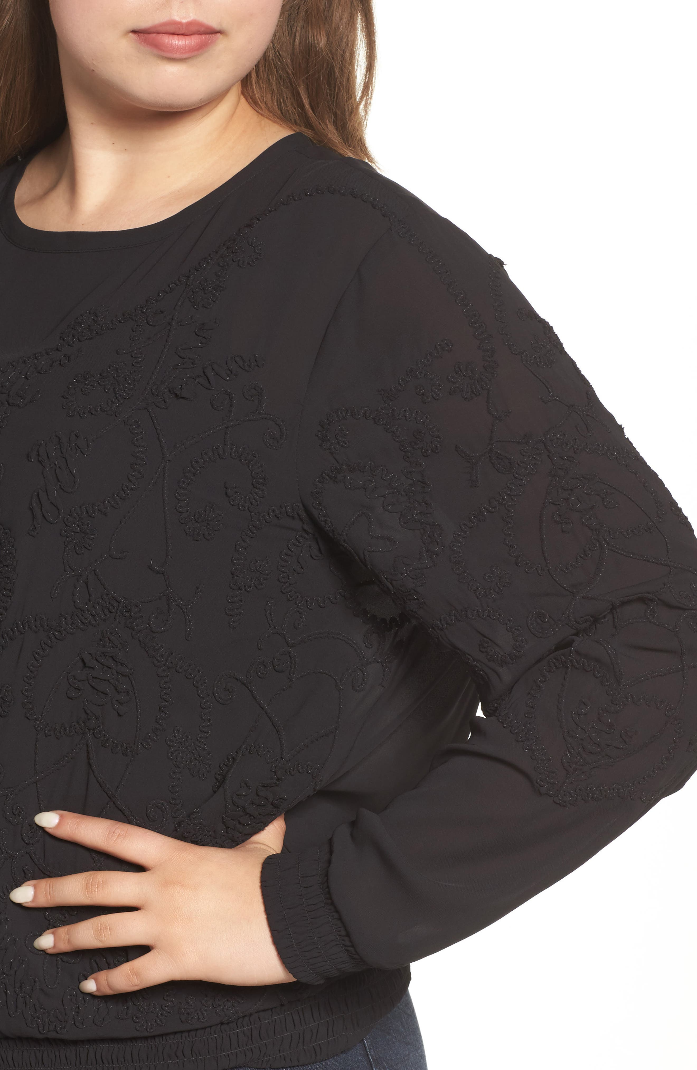 Embroidered Georgette Top,                             Alternate thumbnail 4, color,                             002