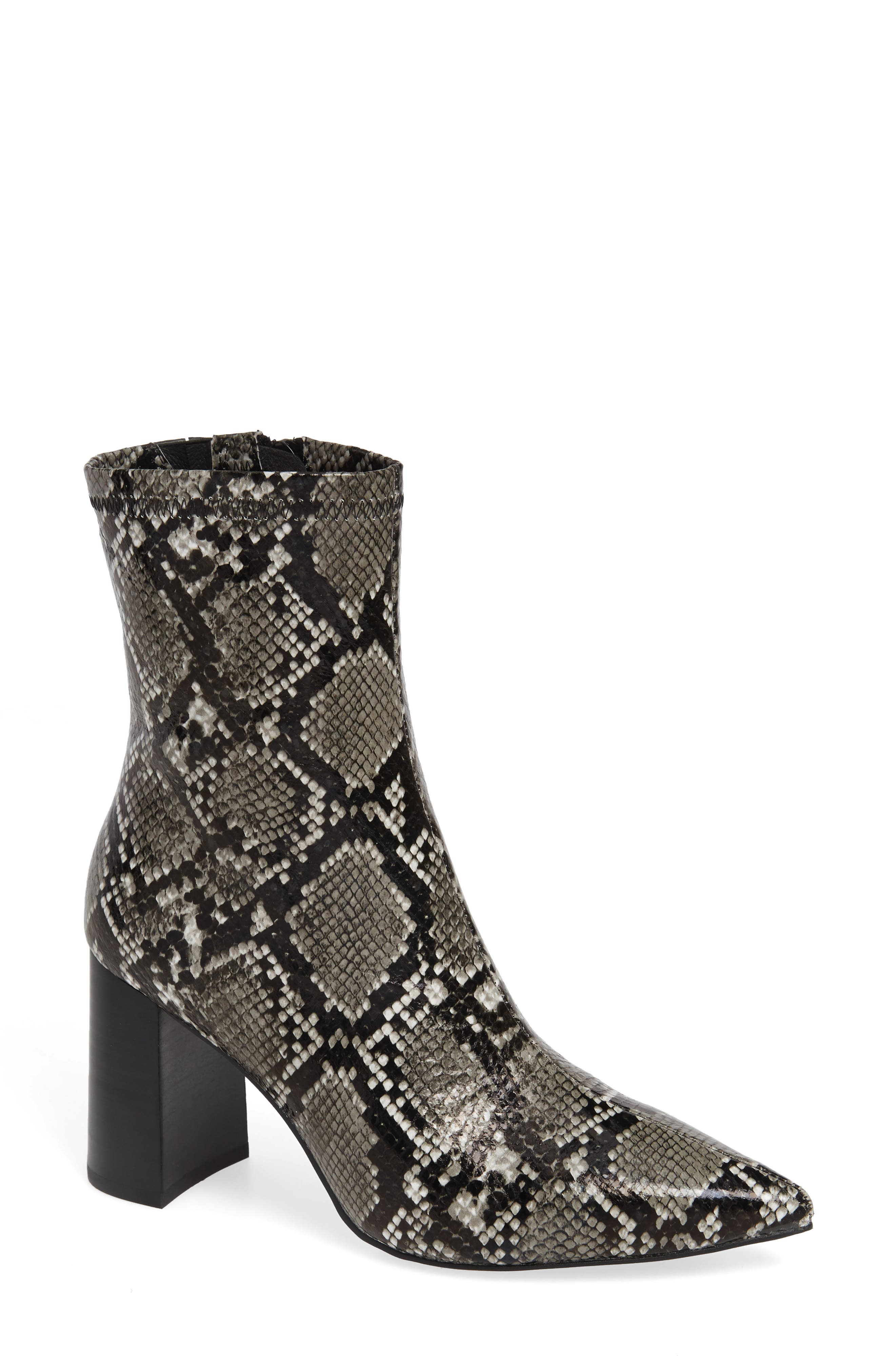 Coma 3 Block Heel Bootie in Grey/ Black Snake Print